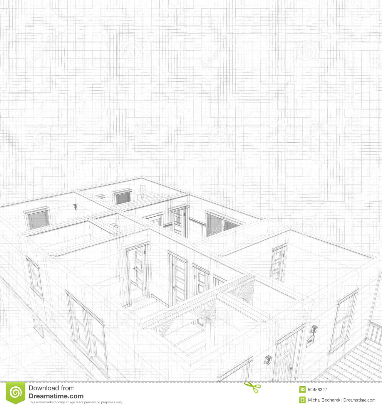 3d Sketch Of House. oncept Of rchitect Project, rchitecture ... - ^
