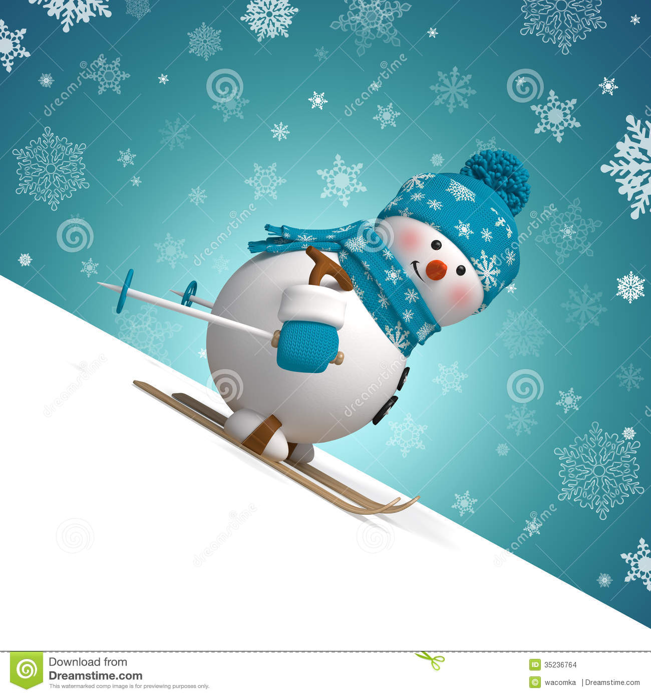Christmas greeting card with 3d cartoon snowman sliding down the hill.