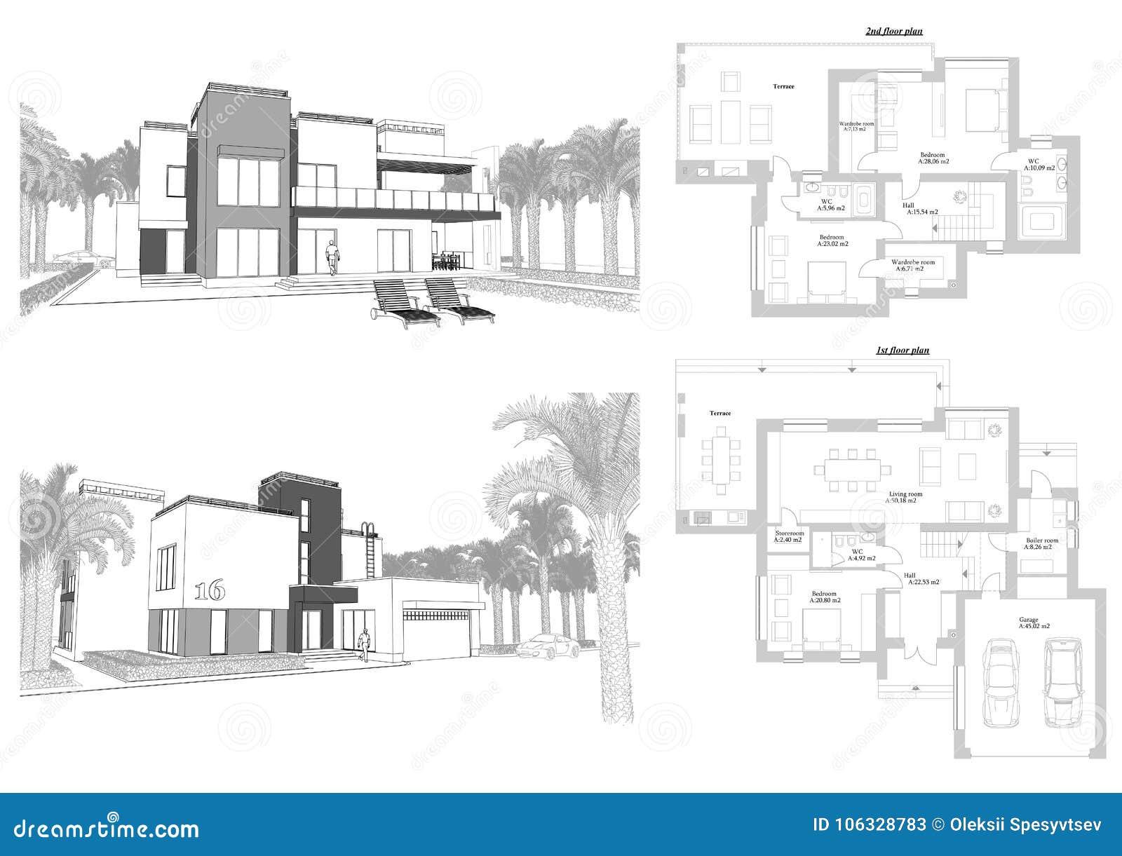 3d skissar av en modern privat byggnad med en terrass-, fasad- och bakgårdsikt som omges av palmträd Orientering för golvplan