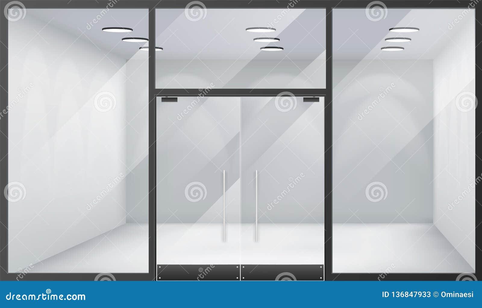 3d sklepu wnętrza przodu pustego sklepu okno realistyczna przestrzeń zamykał drzwi szablonu mockup tła wektoru ilustrację