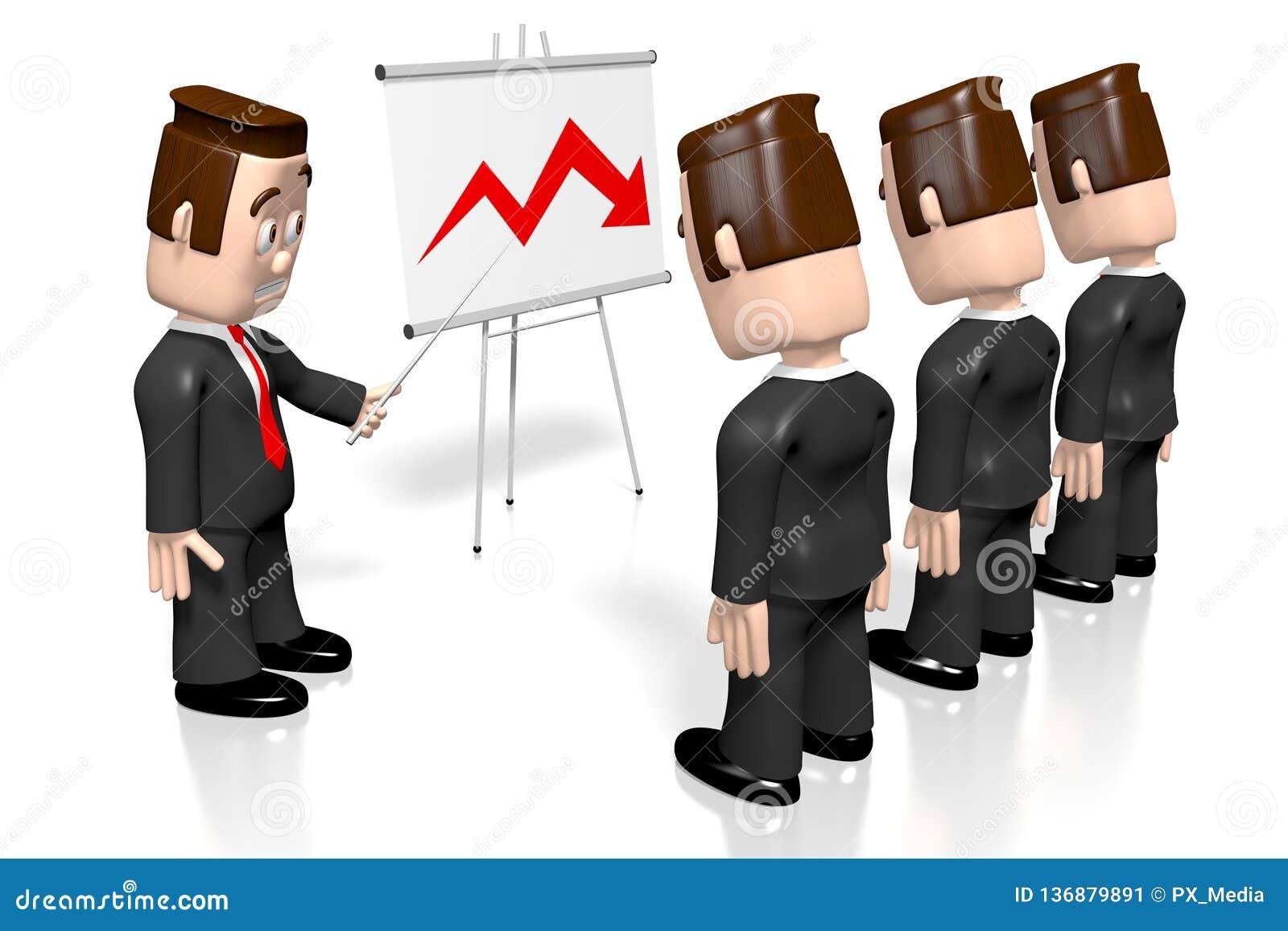 3D businessmen, presentation board - crisis chart