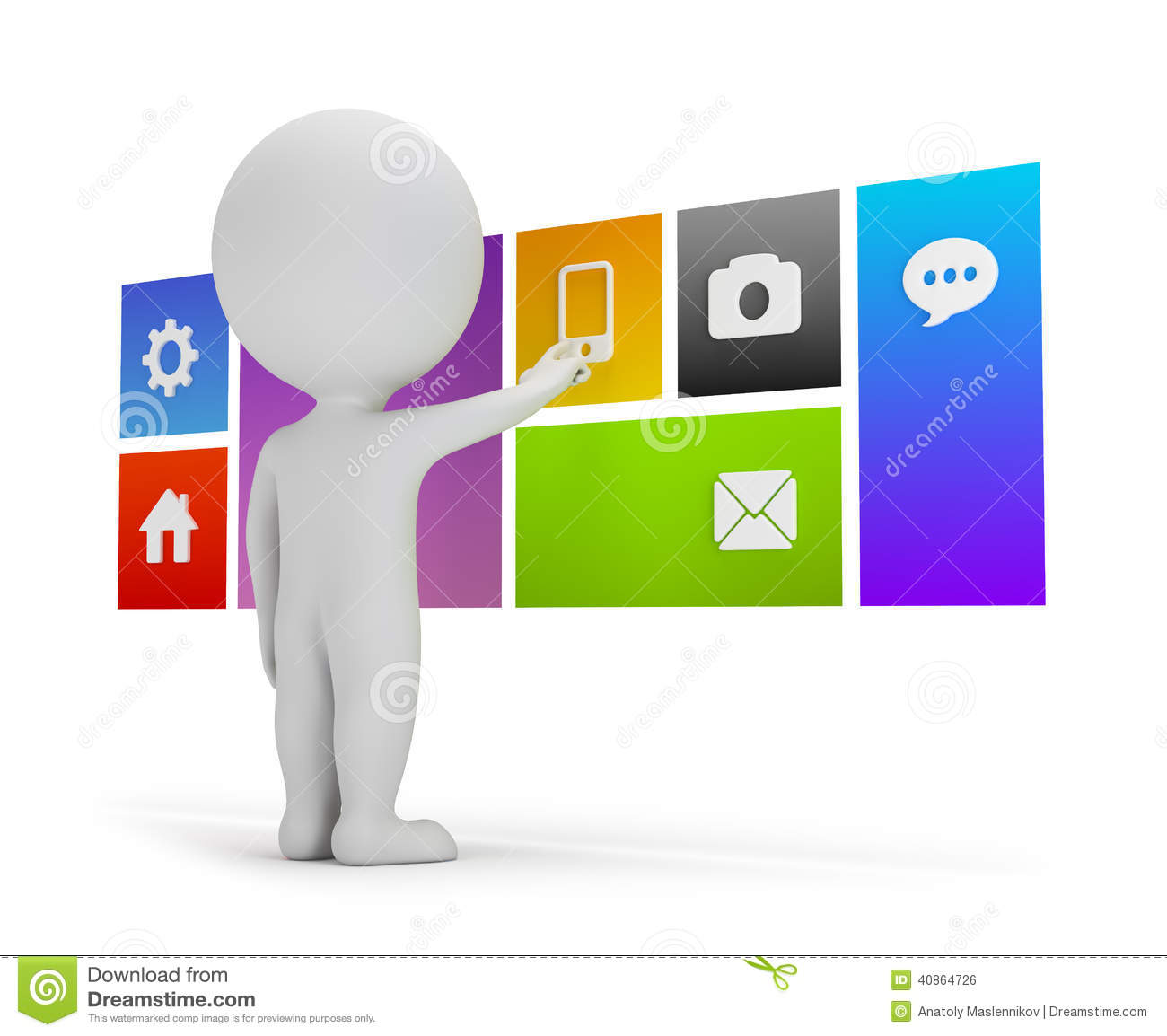 3d Small People - Flat Interface Stock Illustration