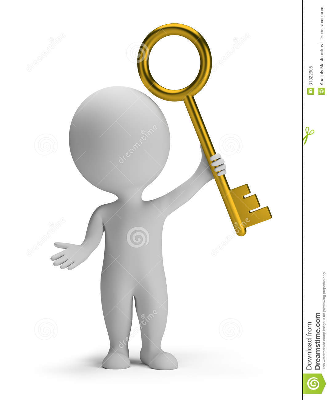 With golden key 3d rendering plan concept with golden key 3d rendering - 3d Small People Golden Key Royalty Free Stock Photo Image 31822905