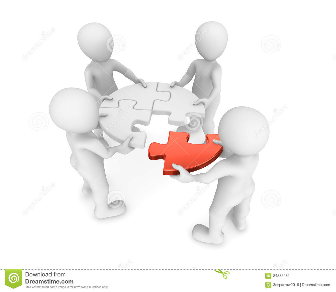 3d small people with red puzzle in hands.