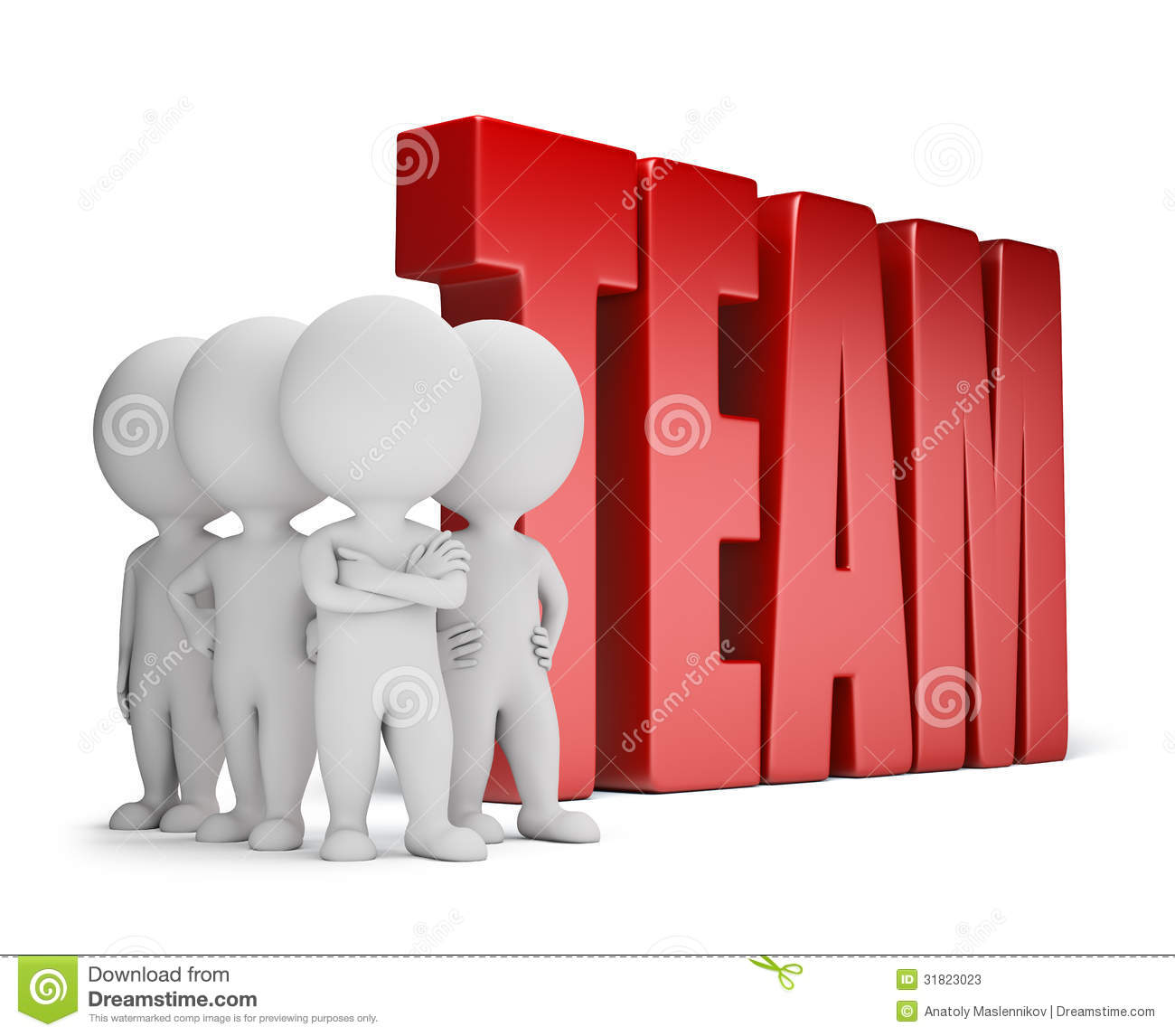 Group of 3d small people standing next to the word team. 3d image ...