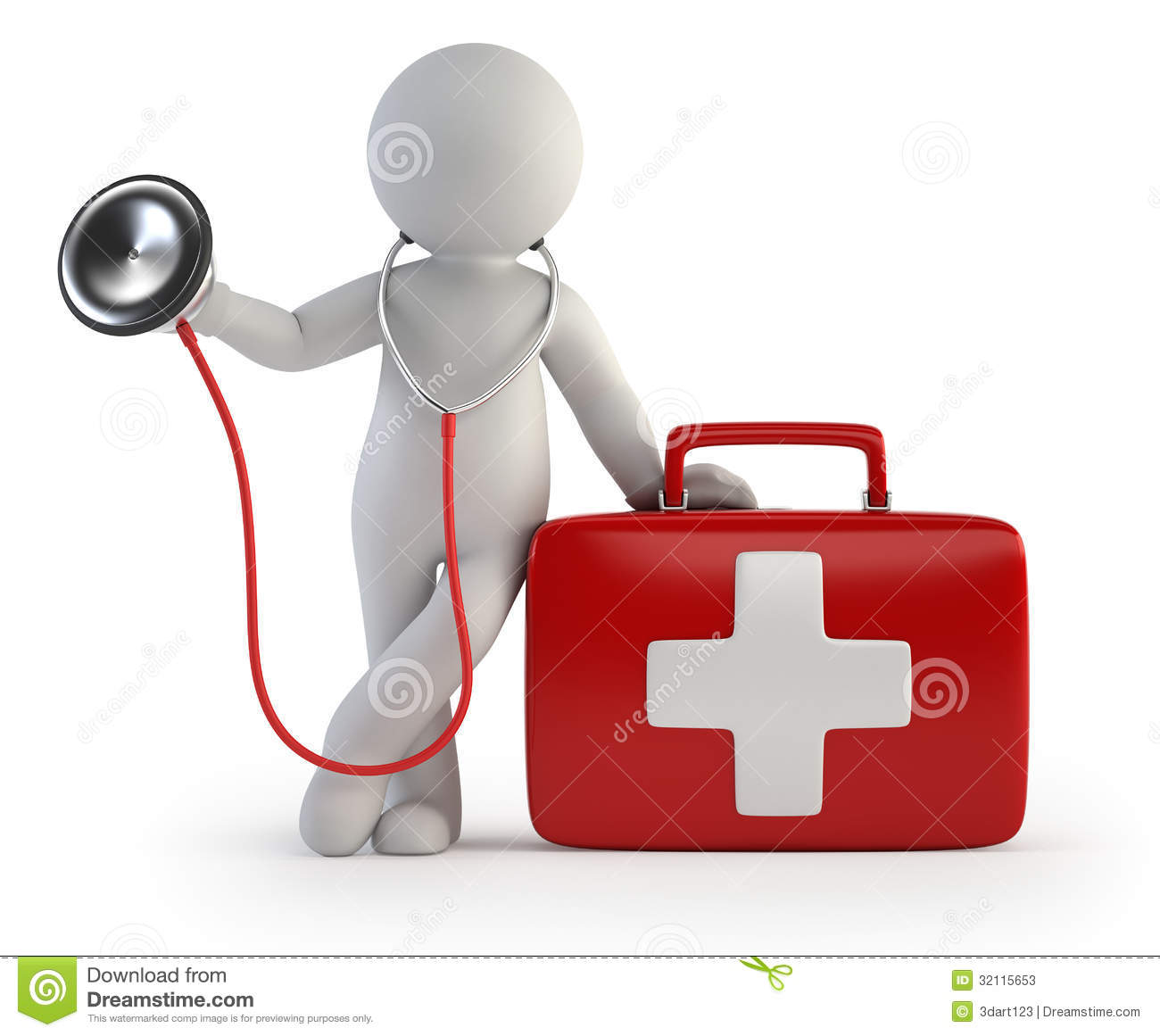 3d Small People Stethoscope And Medical Kit Stock Photos