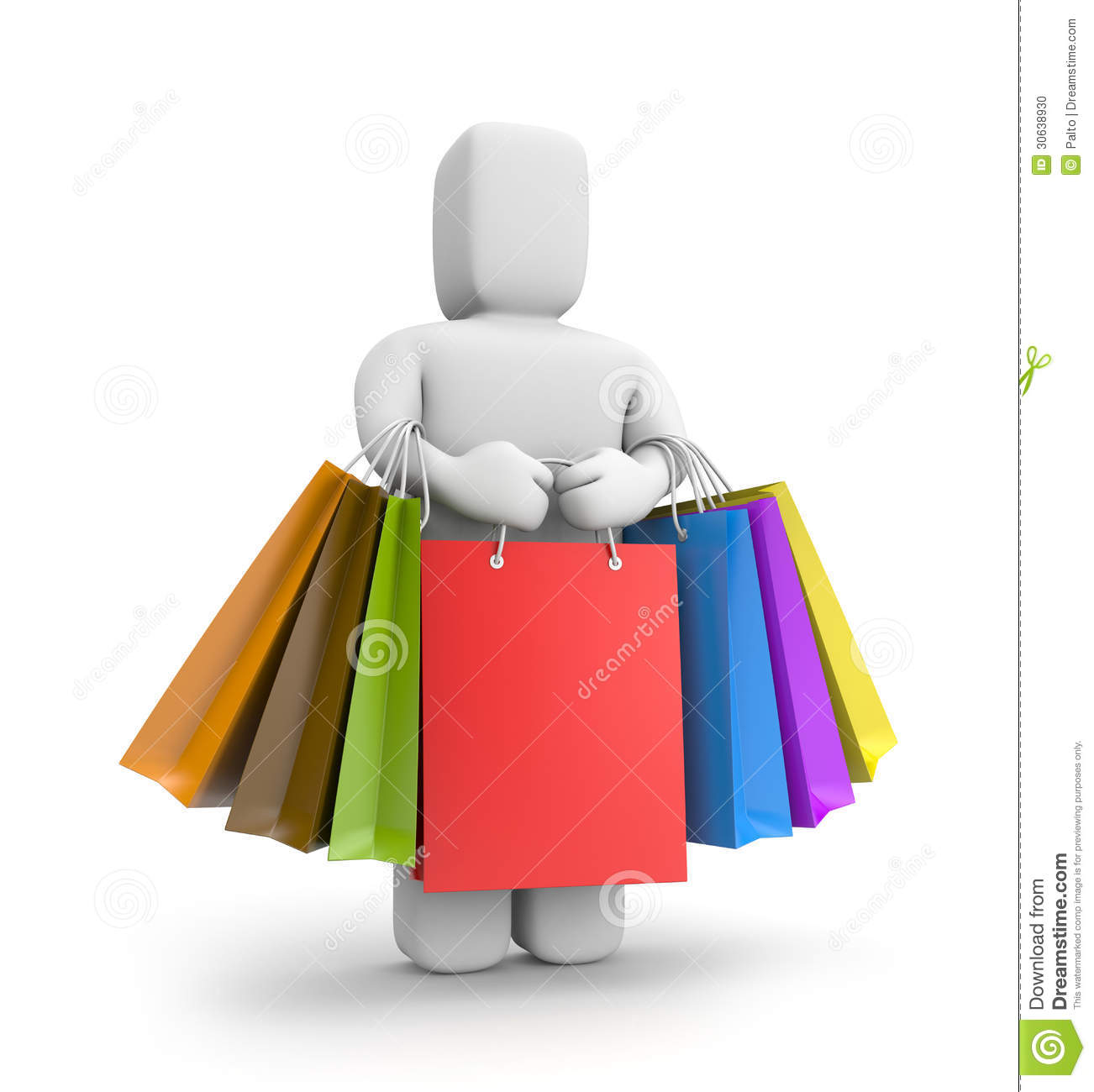3d Small Person With Lot Of Shopping Bags Stock Photo - Image ...