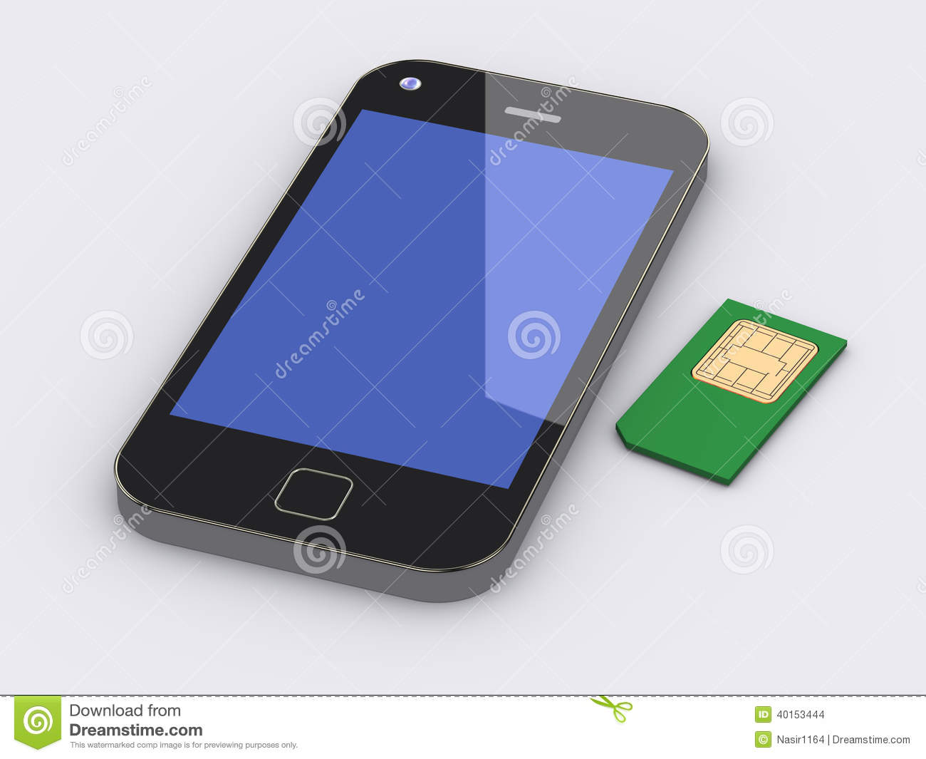 3d Rendering Of Smart Phone Cell Mobile Device And Sim Card