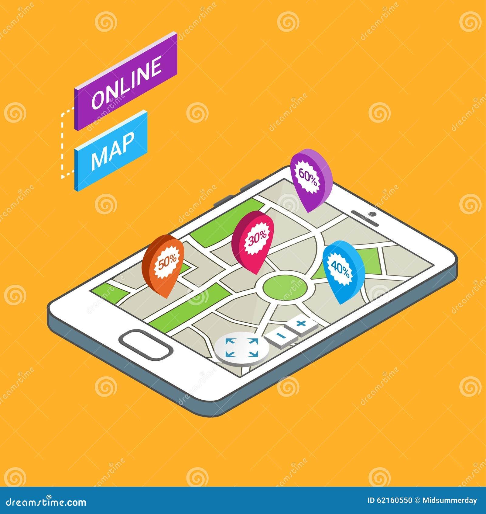 D Smartphone With City Map Online Map Mobile Navigation App - Navigation map online