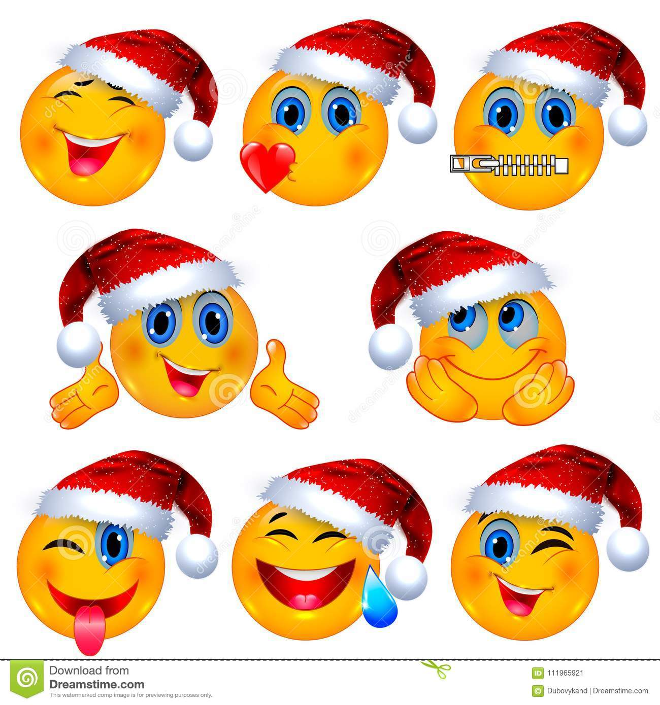 3D Smiley Faces With Red Santa Hat On  Vector Illustration