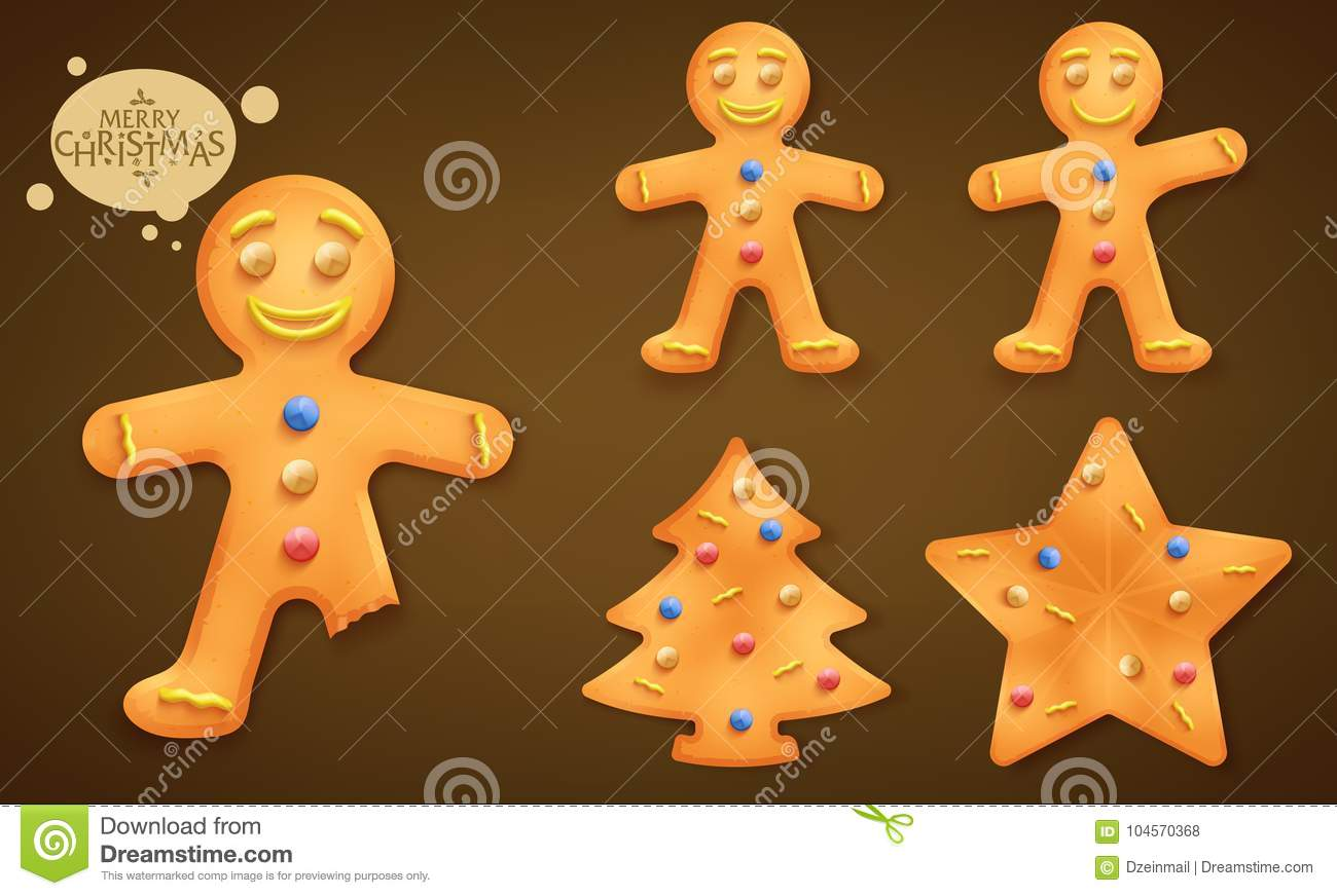 3D Smiling Brown Gingerbread Man, Christmas Tree and Star Cookies Set