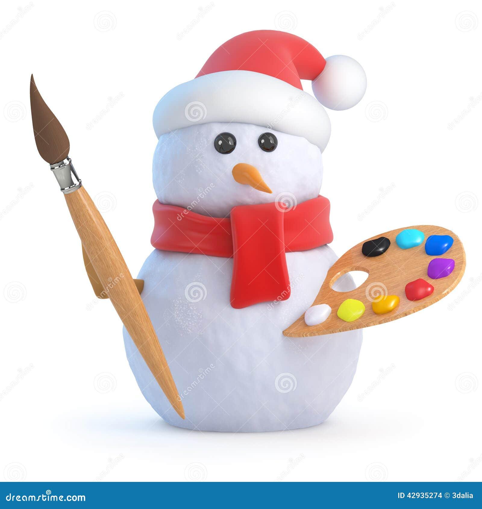 3d Sneeuwman is een kunstenaar