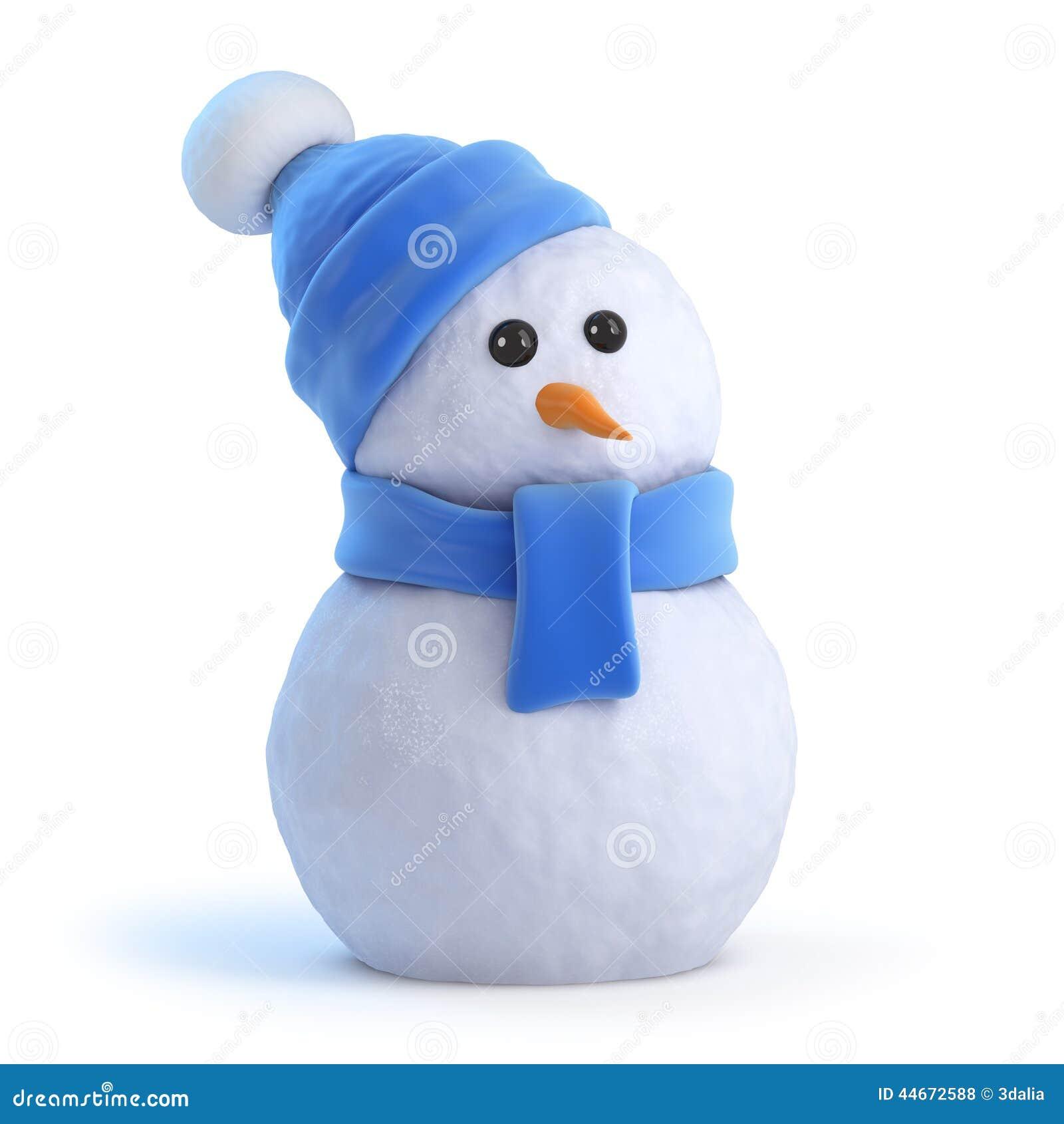 3d Snowman In A Blue Wooden Ensemble Stock Illustration ...