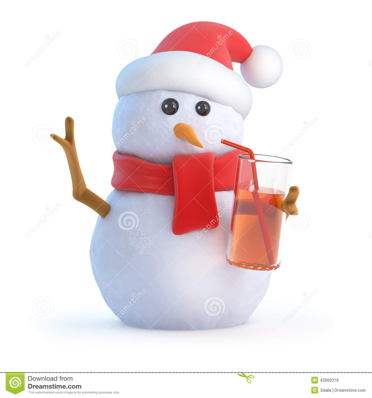 3d Snowman has a drink at the party