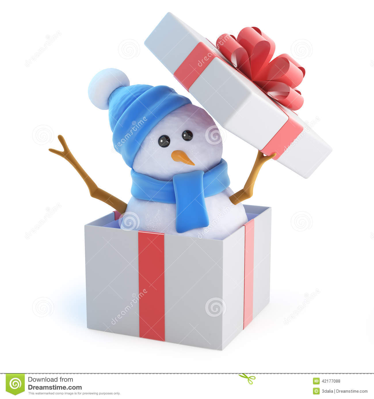 3d Snowman Jumps Out Of The Gift Box Stock Illustration ...