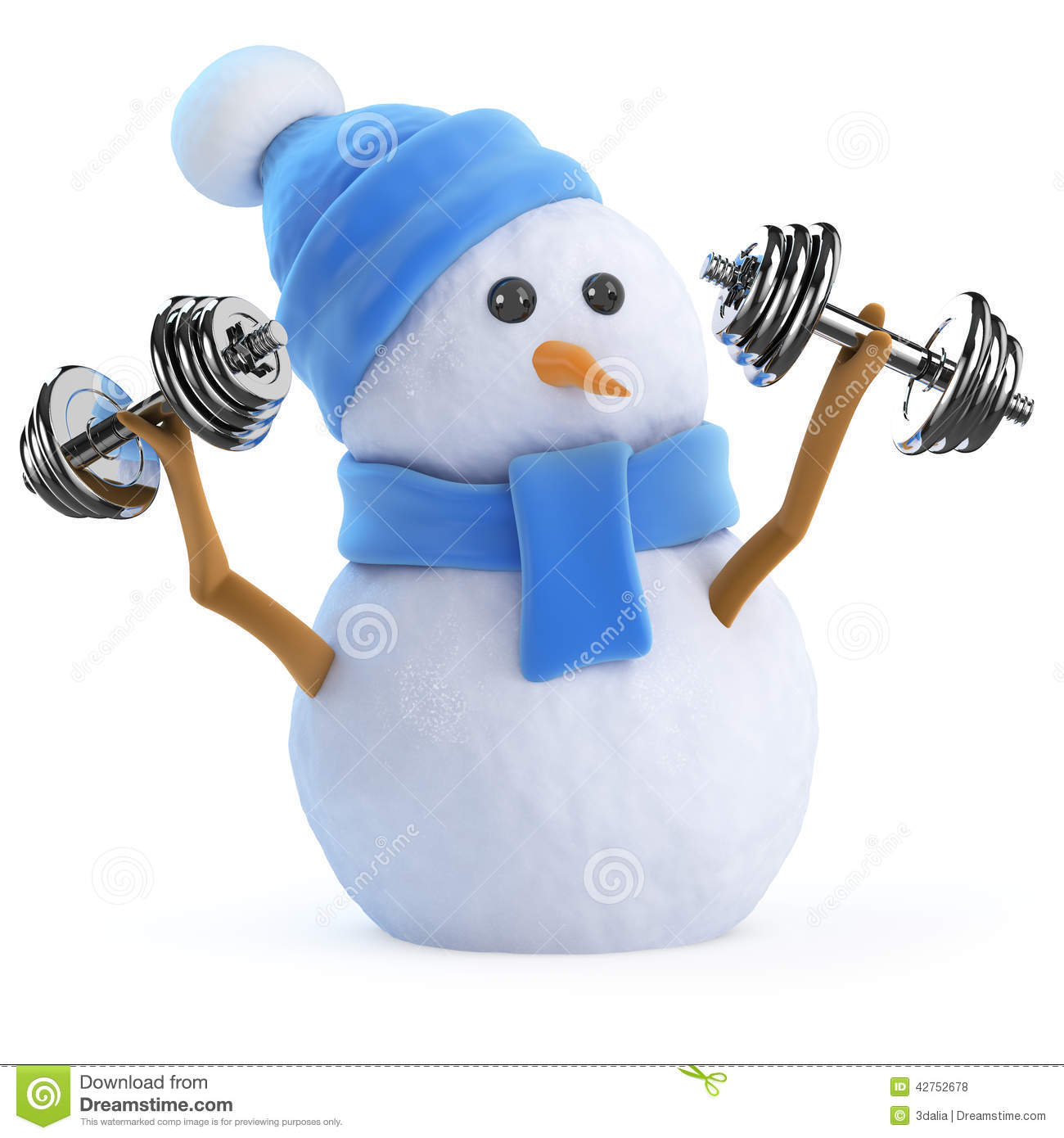 3d Snowman Works Out With Weights Stock Illustration Image: 42666352 ...