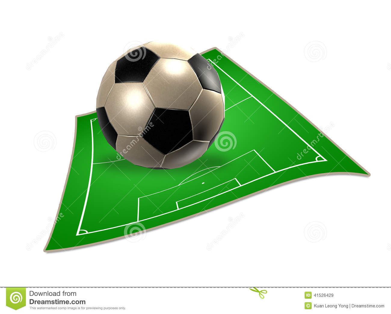 3d soccer ball with soccer field