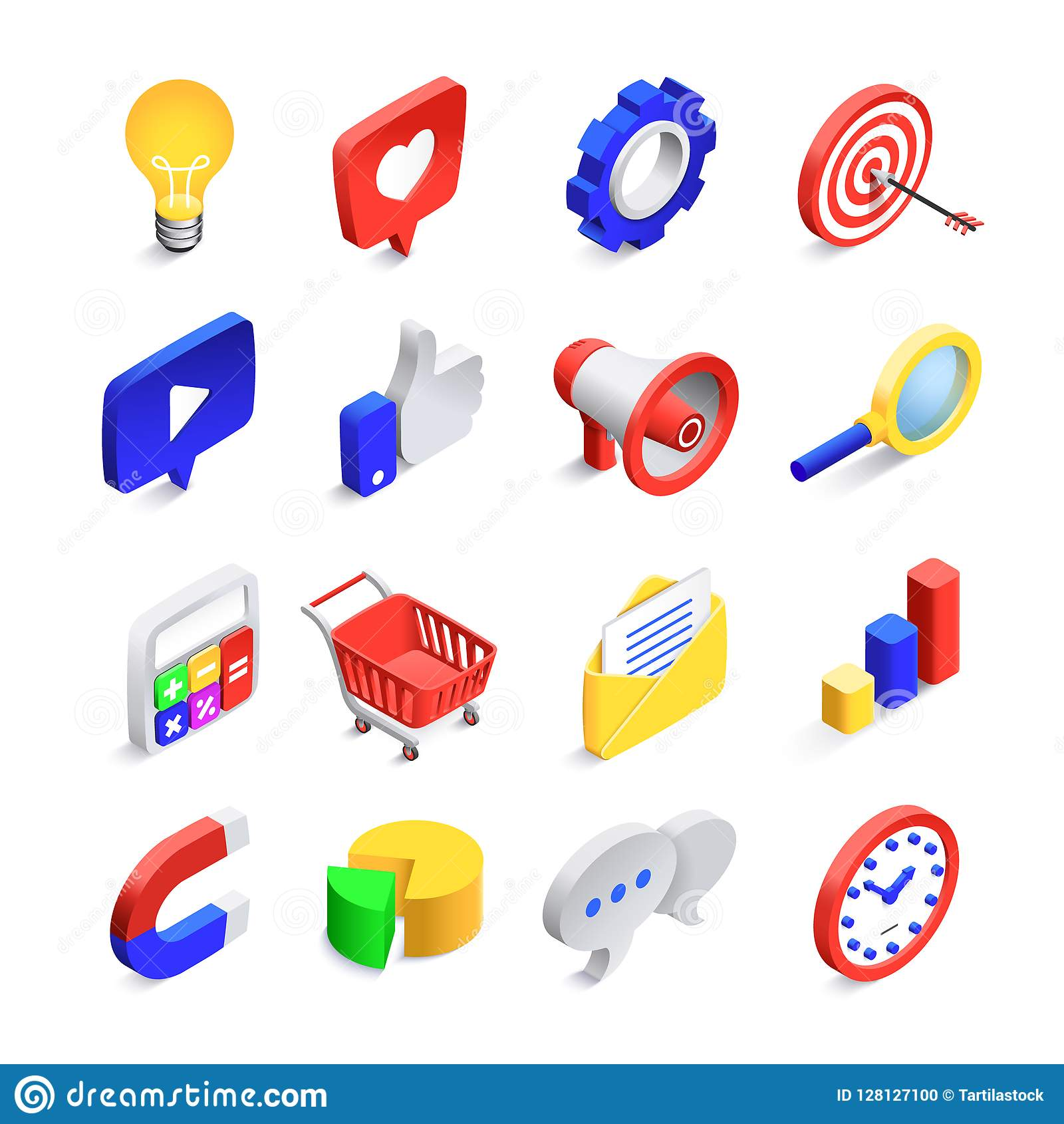 3d social marketing icons. Isometric web seo likes sign, business mail network and website search button vector icon