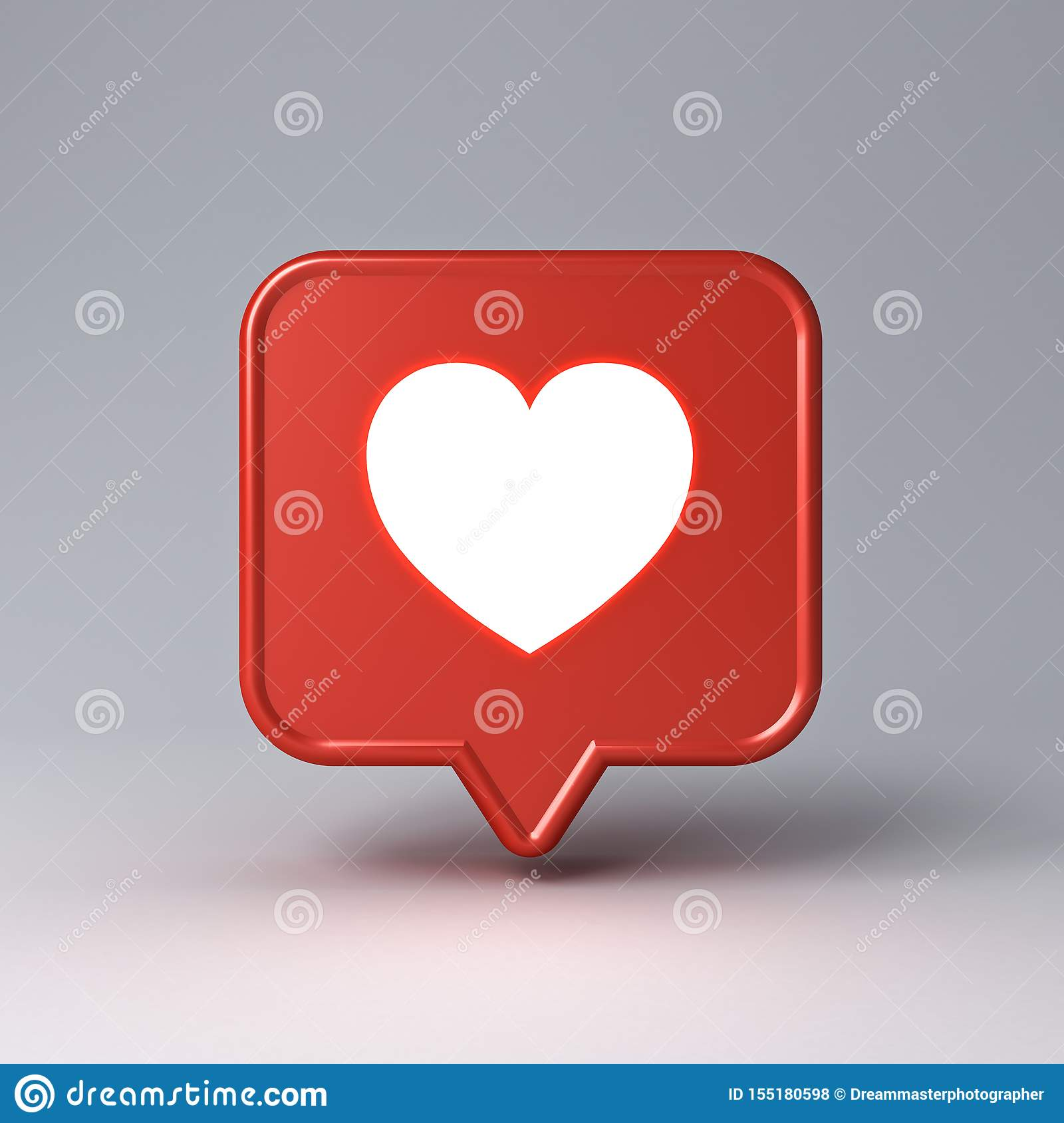 3d social media notification neon light love like heart icon in red speech bubble pin isolated on dark white background