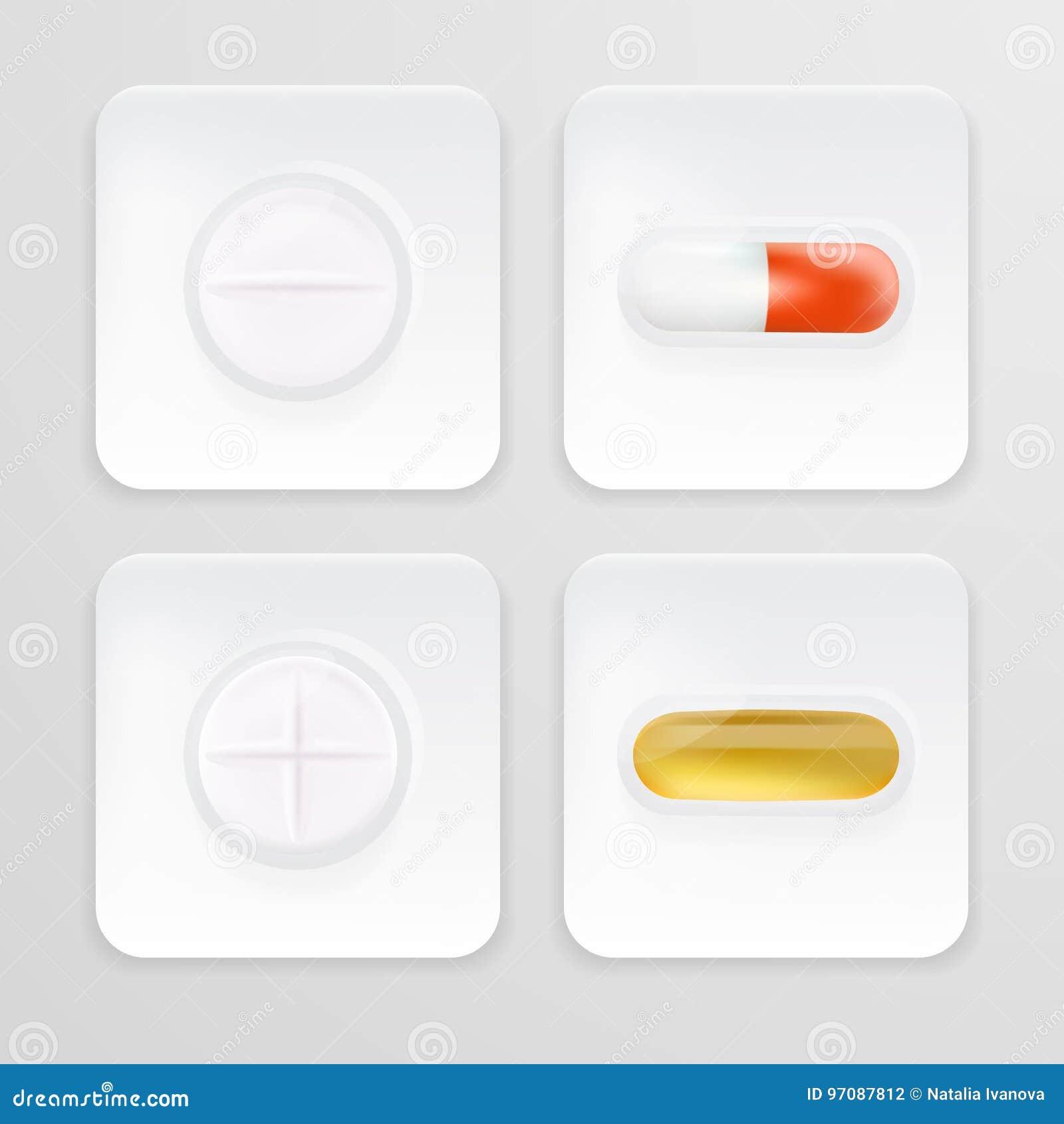 3d som förpackar för drogsmärtstillande medel, antibiotikummar, vitaminer och huvudvärkstablettminnestavlor Uppsättningen av vit