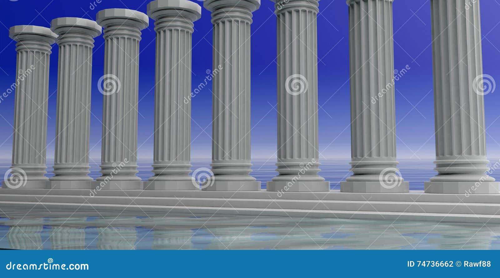 3d som framför åtta vita marmorpelare