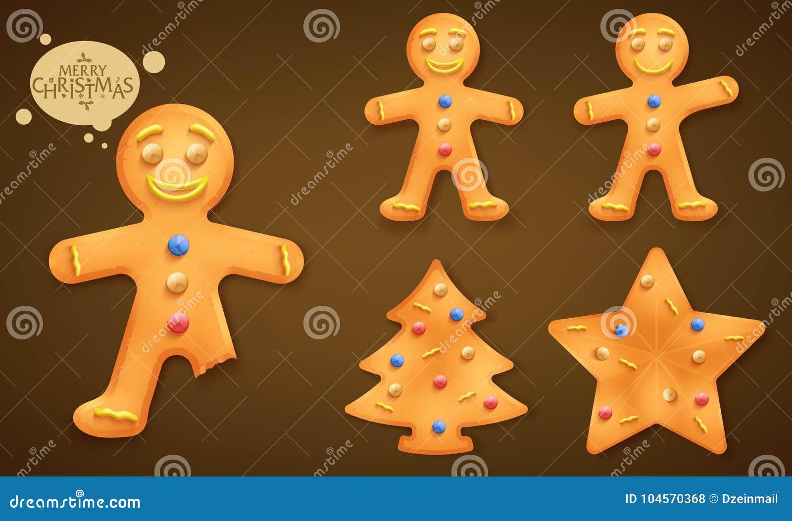 3D som ler den bruna uppsättningen för kakor för pepparkakaman, julgran- och stjärna