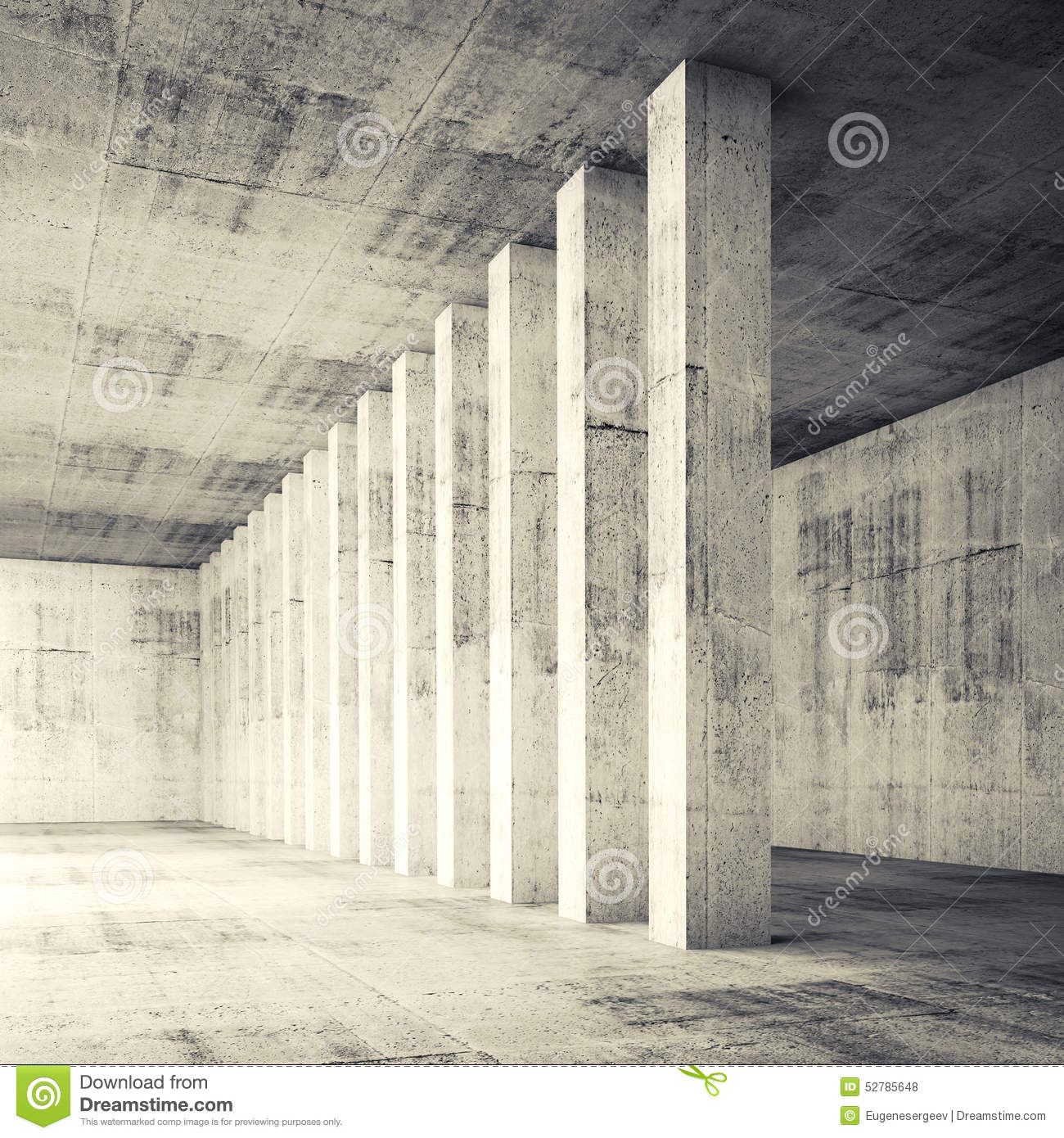 3d Square Empty Interior With Concrete Walls And Columns