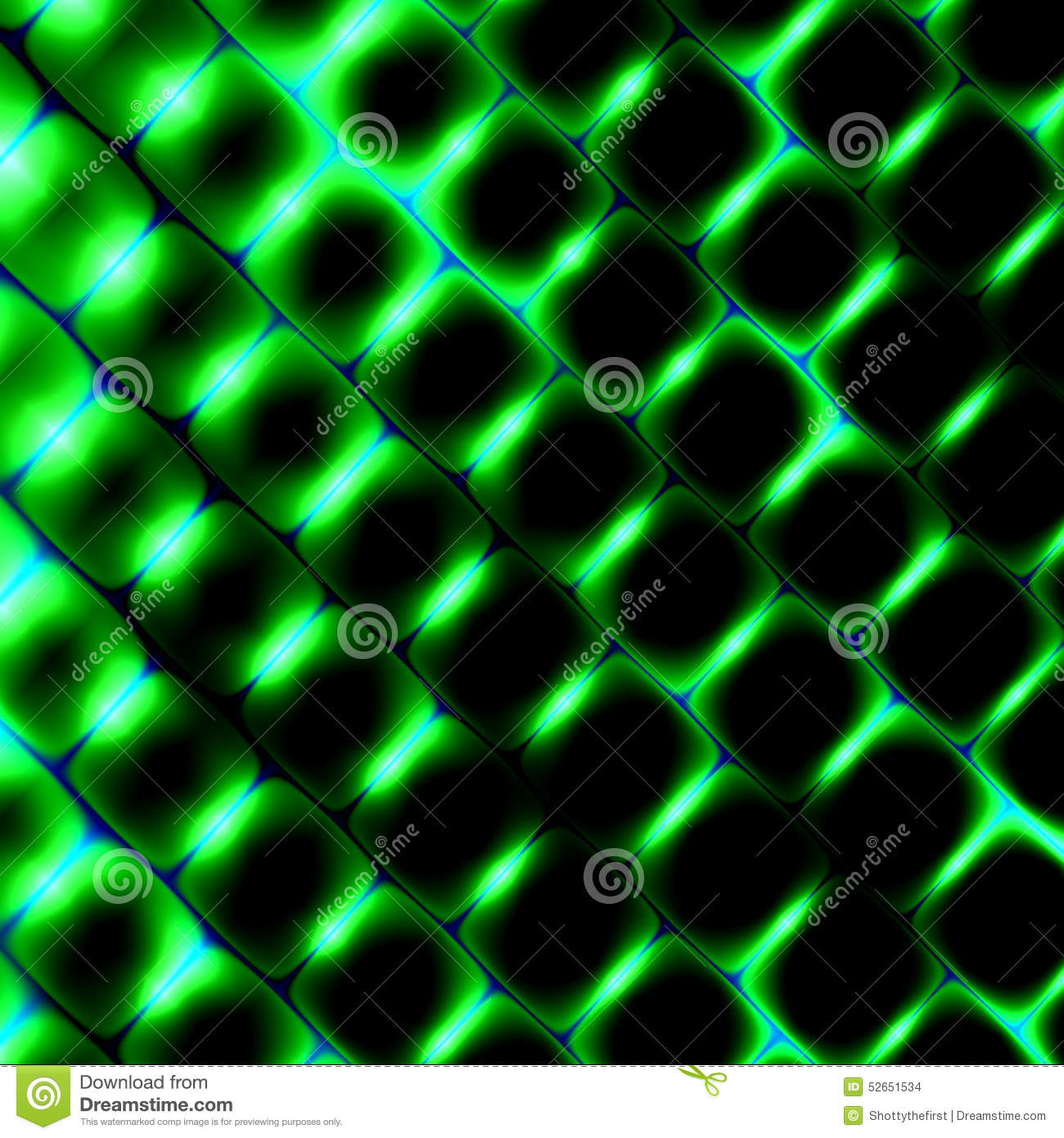 3d Square Shapes Under Green Light. Beautiful Science