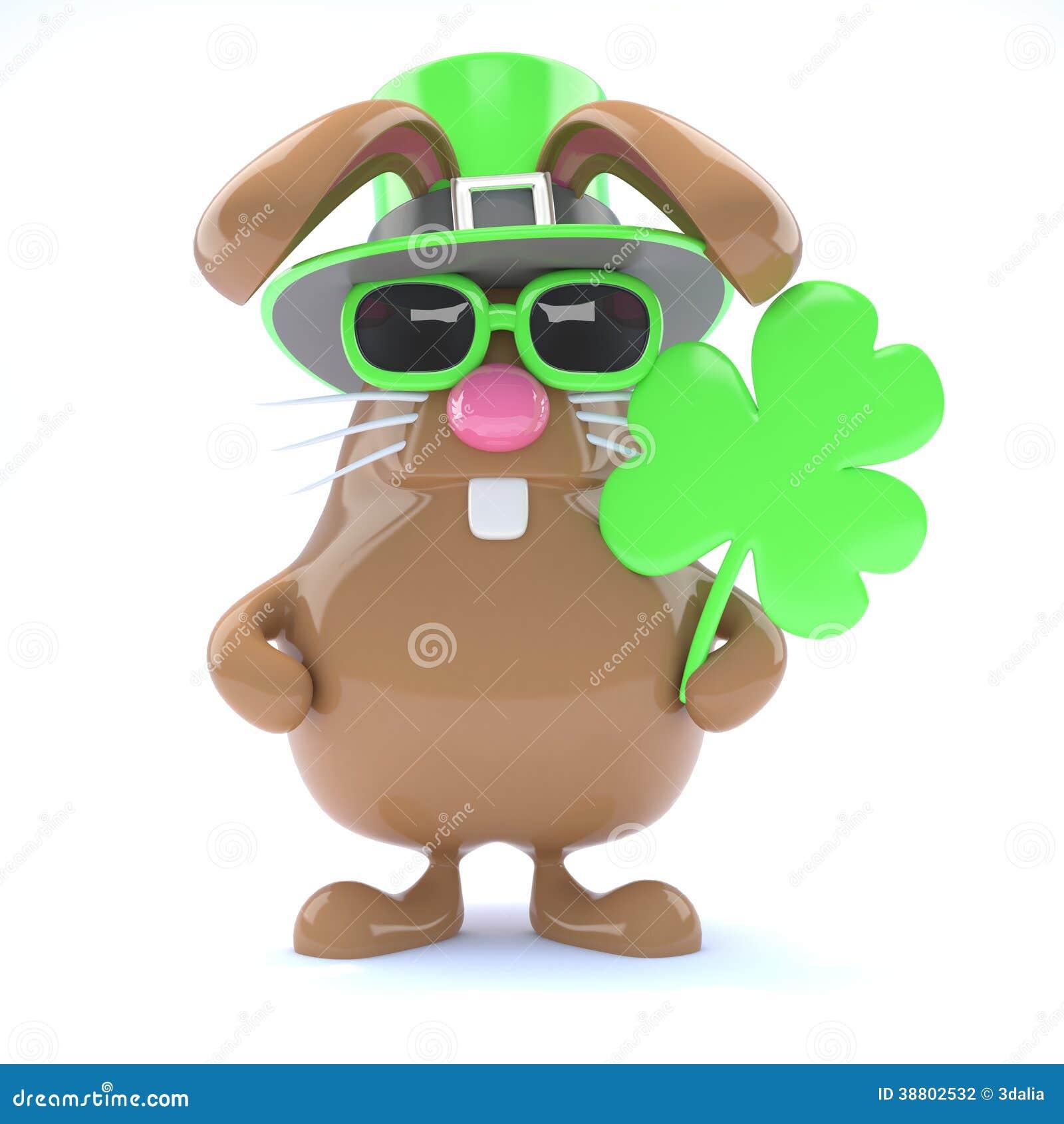 3d St Patricks Bunny Stock Illustration Image 38802532