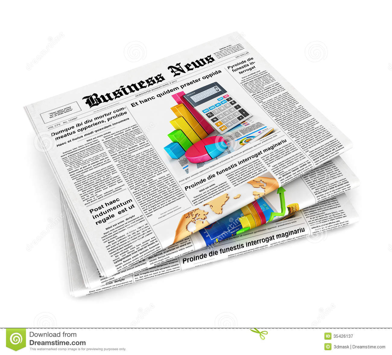 3d stack of newspapers stock illustration. illustration of print