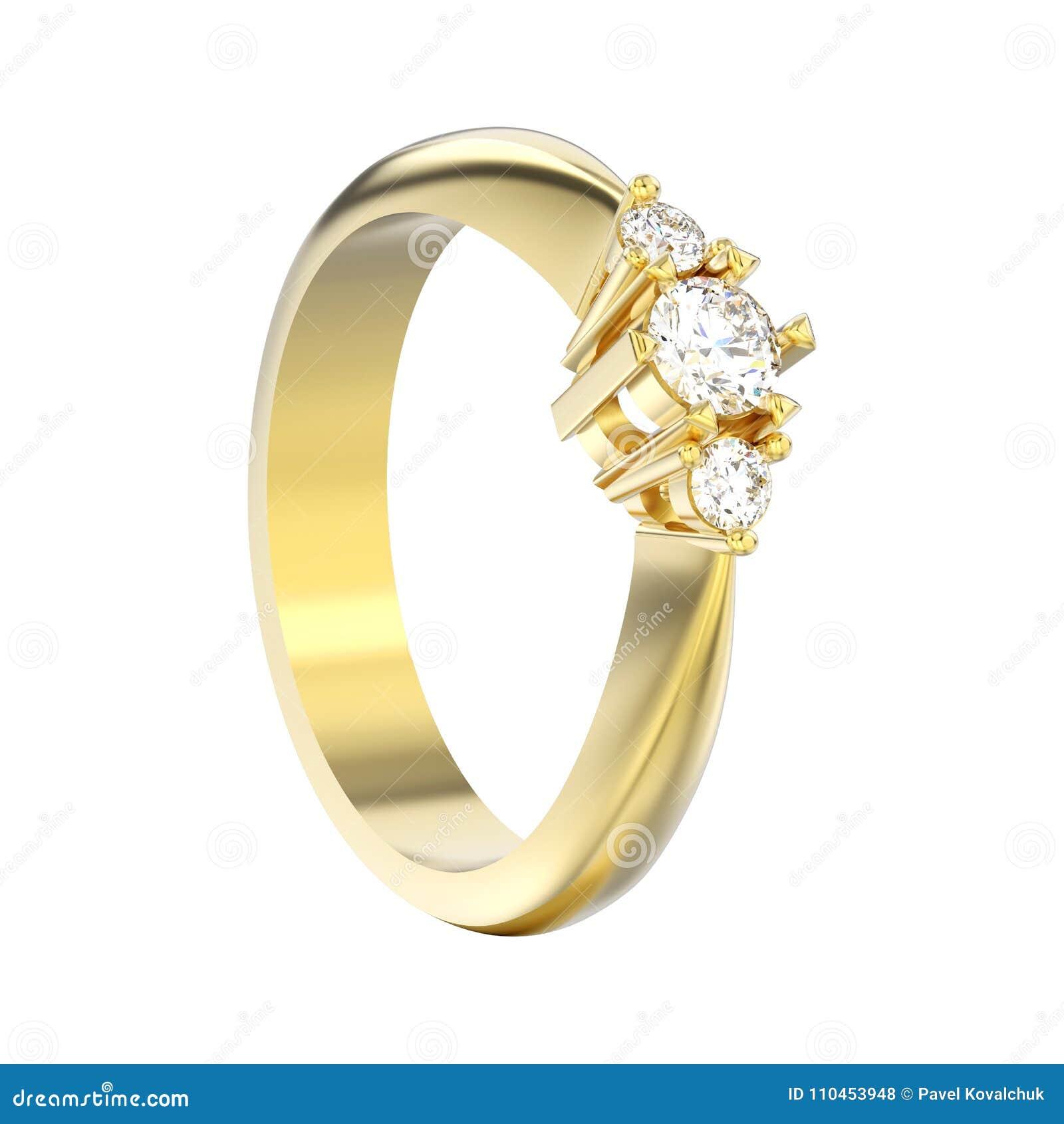 3D stenar illustrationen isolerad gul guld tre diamantcirkeln