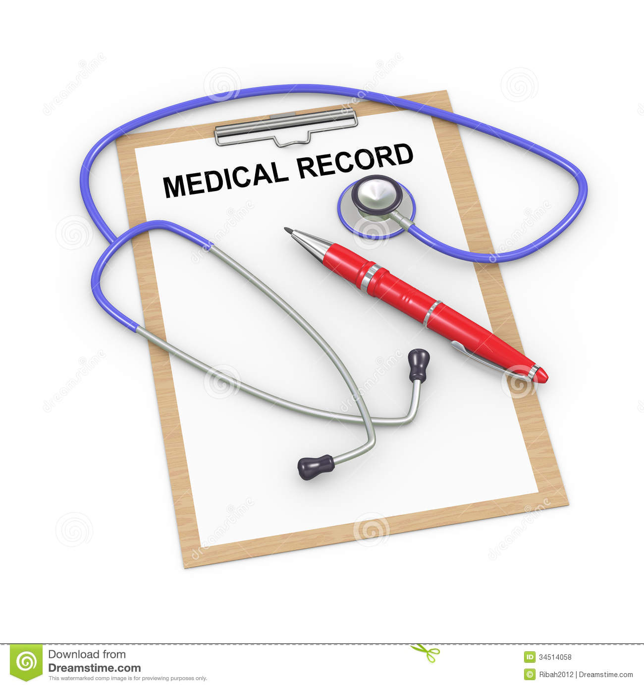 illustration of stethoscope, pen and medical history record clipboard