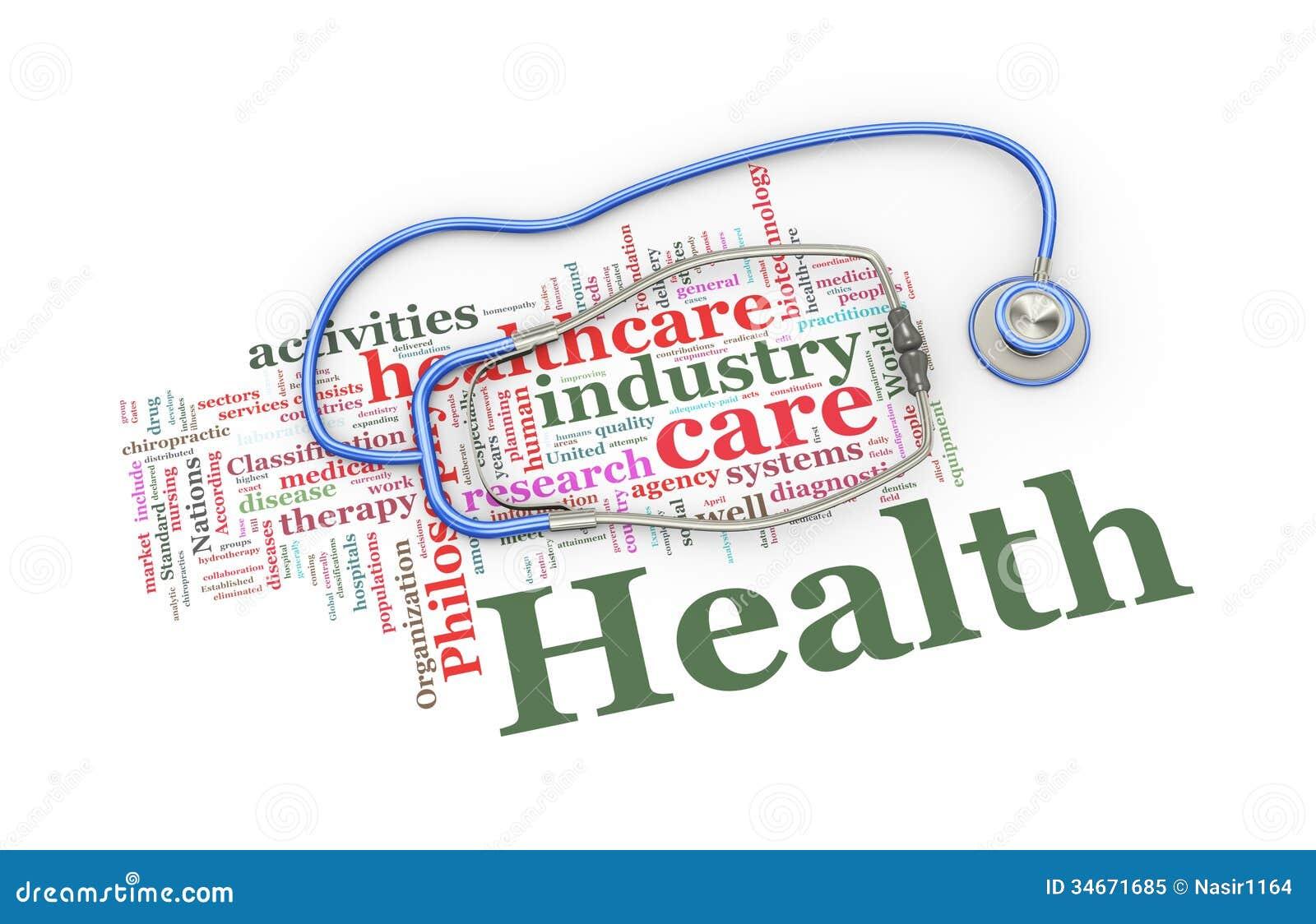 3d Stethoscope Over Healthcare Word Tags Illustration Royalty Free ... Nursing Symbol Design