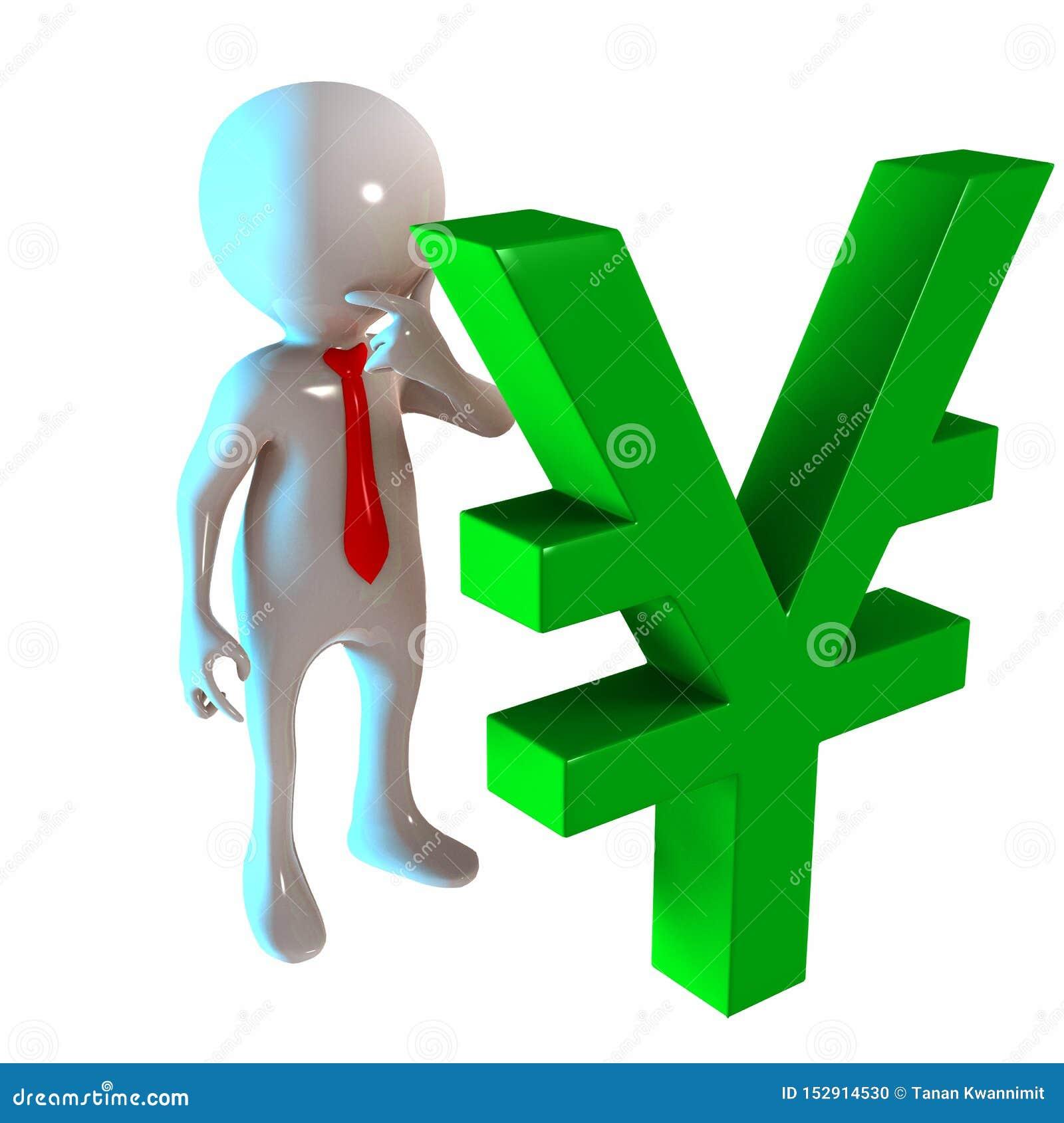 3D Stickman z jenu pieniądze