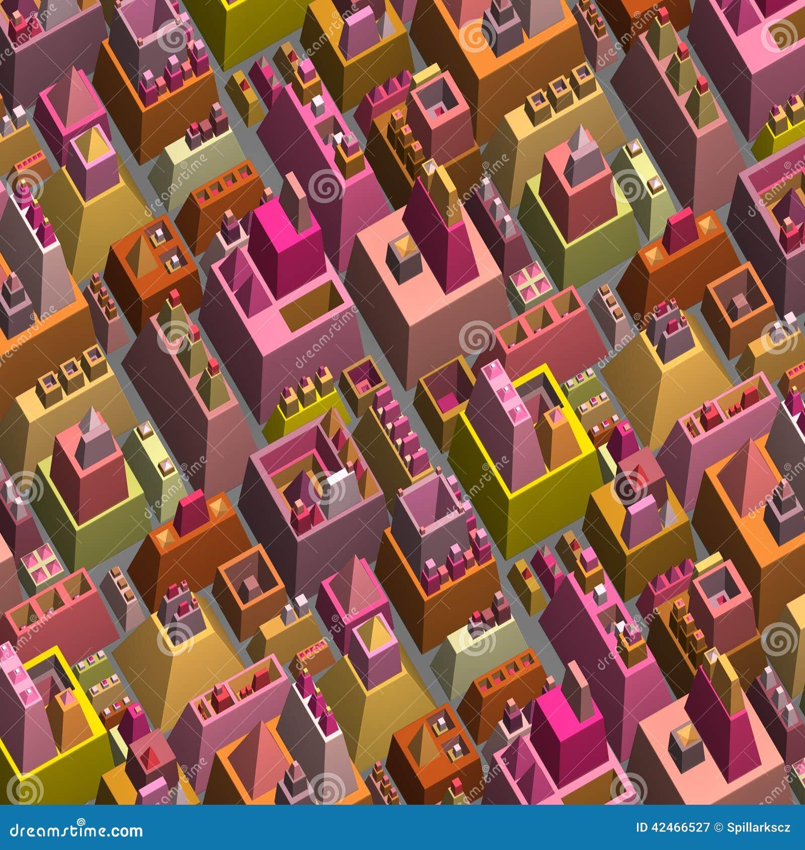 3d stilisierte futuristische Stadt in der mehrfachen hellen Farbe