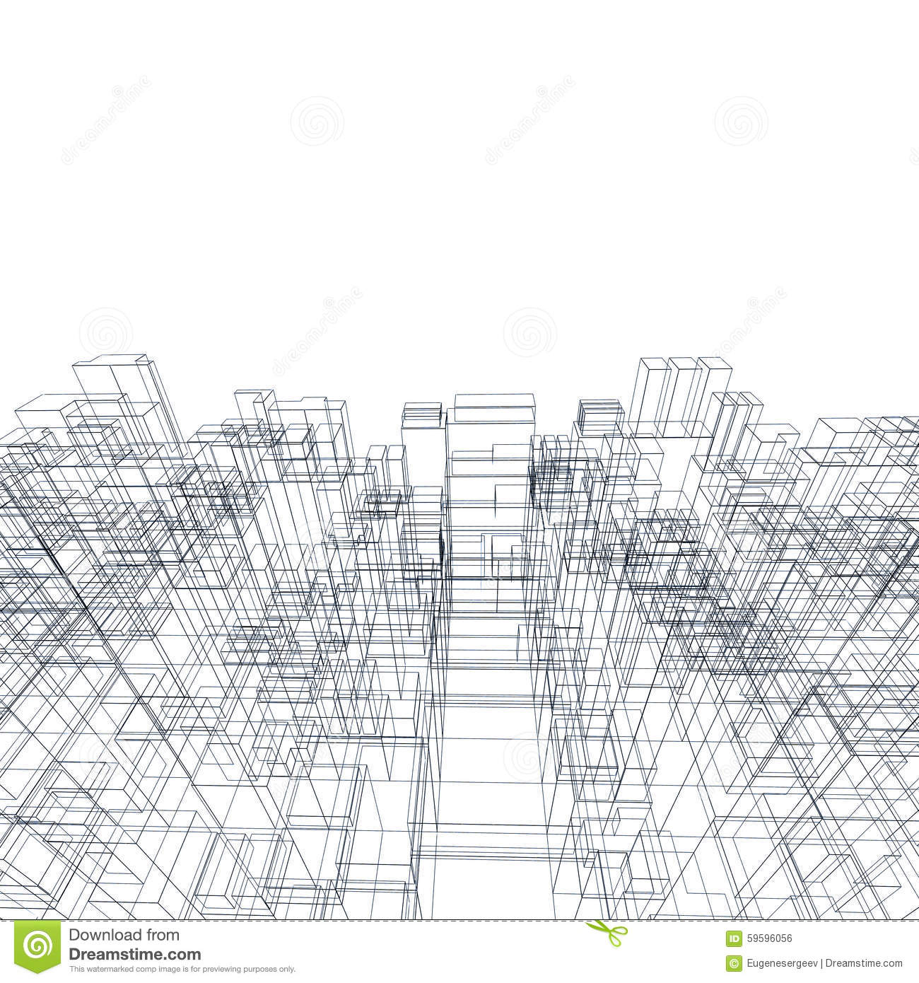 3d Structure, Wire Frame Lines Over White Stock Illustration ...