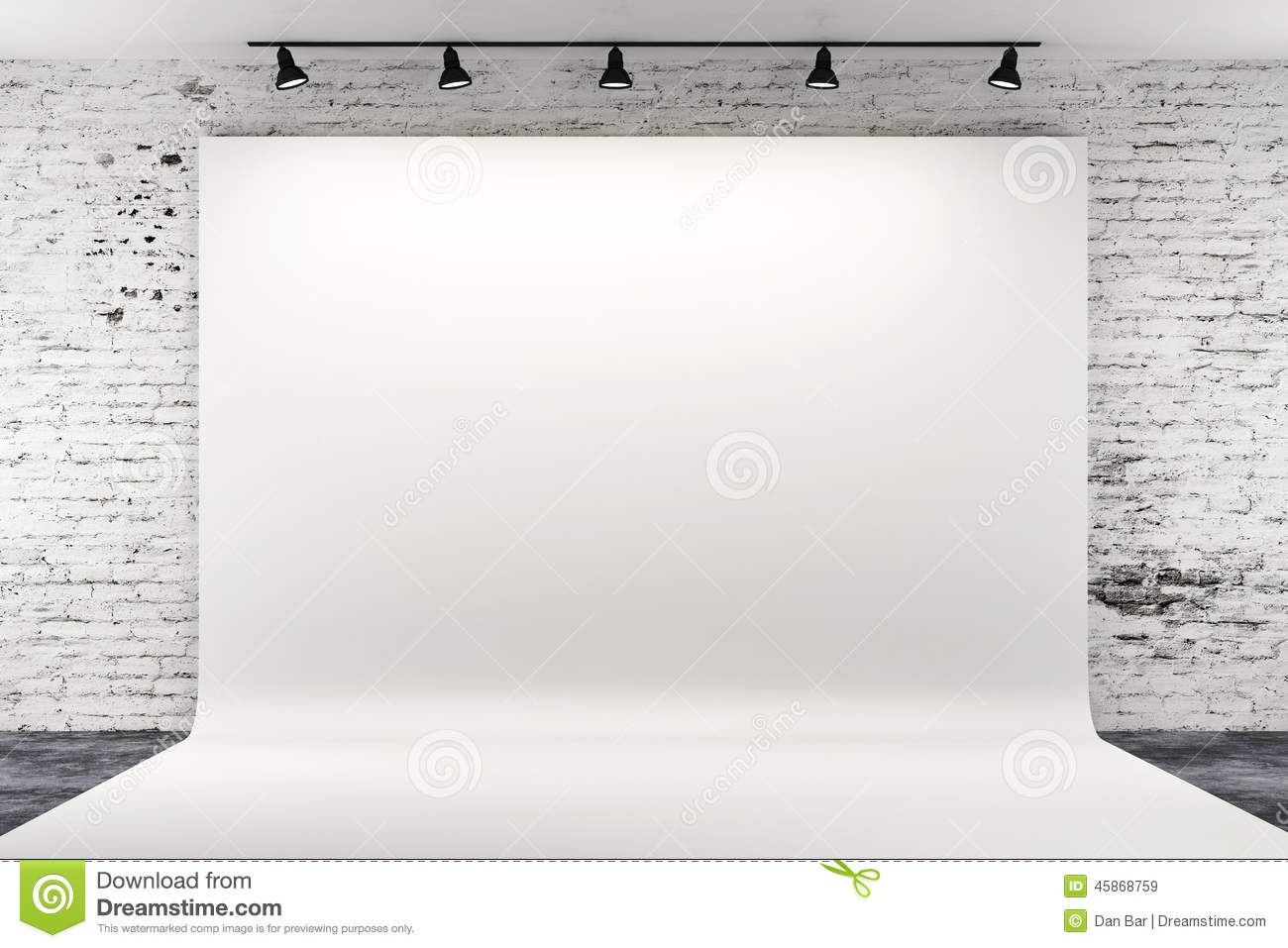 3d Studio Setup With Lights And White Background Stock