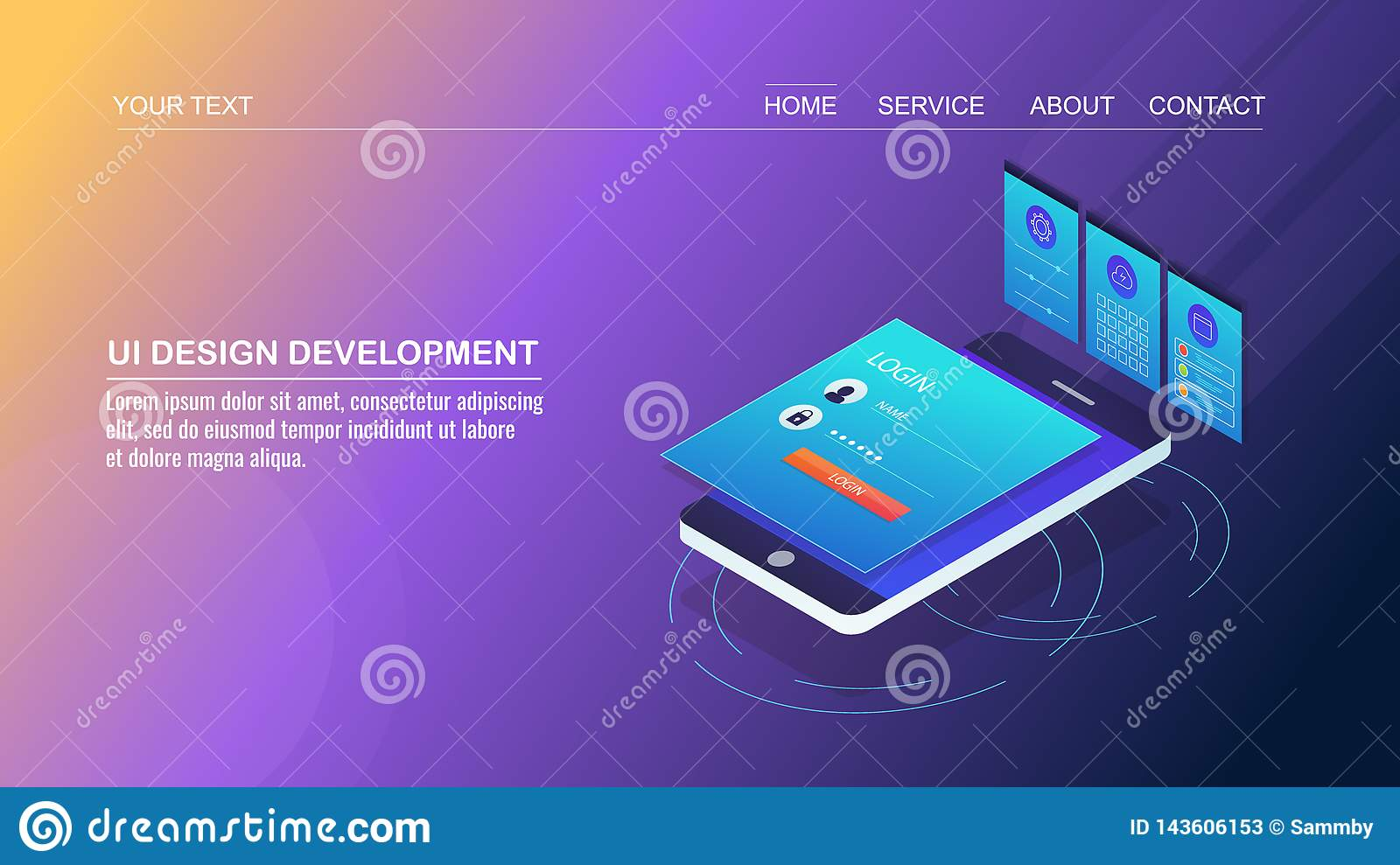 Mobile App Development User Interface Design Mobile Page Design User Experience Improvement Isometric Design Concept Stock Vector Illustration Of Page Digital 143606153