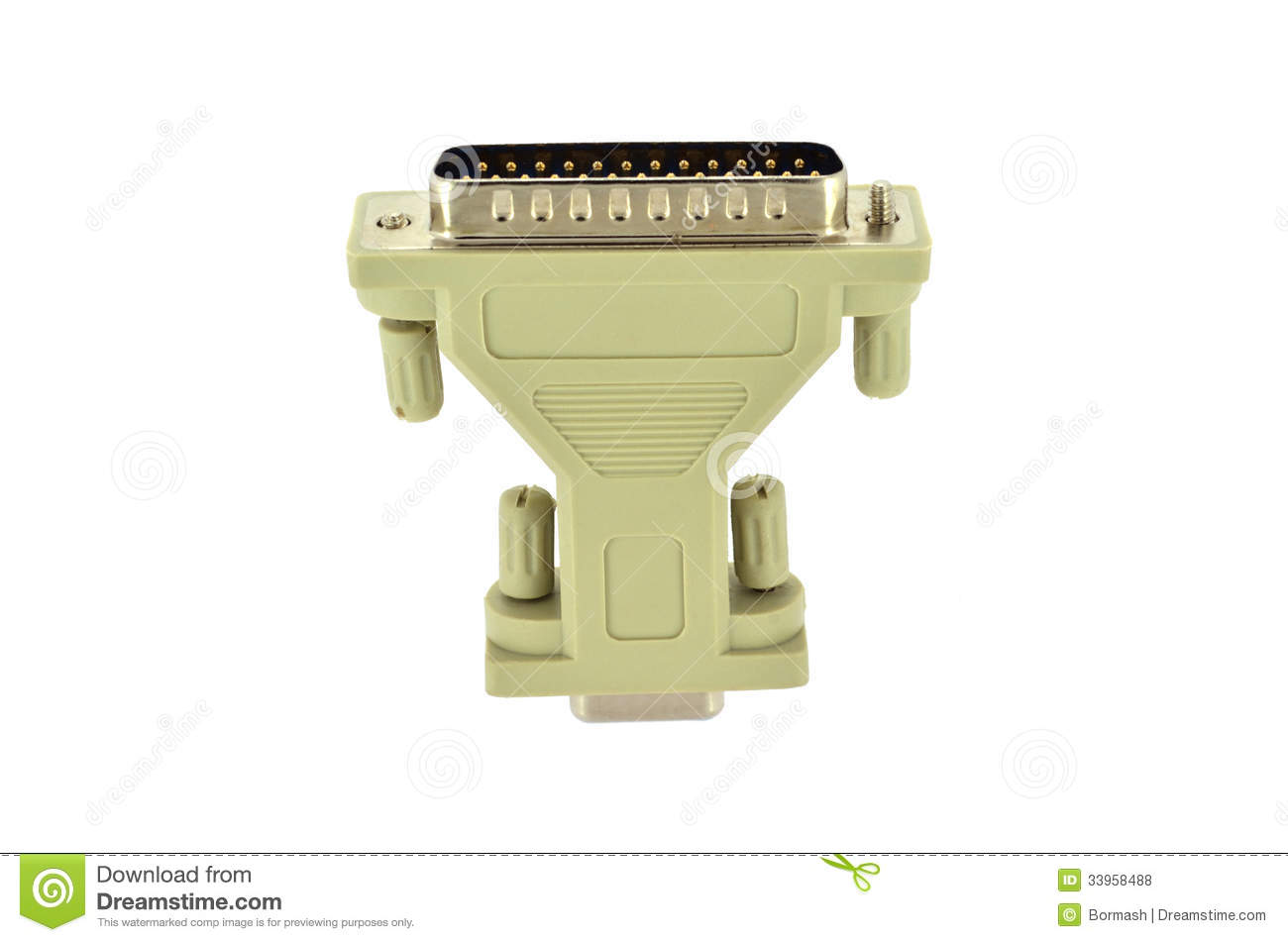 Computer Monitor Plug : D sub plug and socket adapter royalty free stock photos