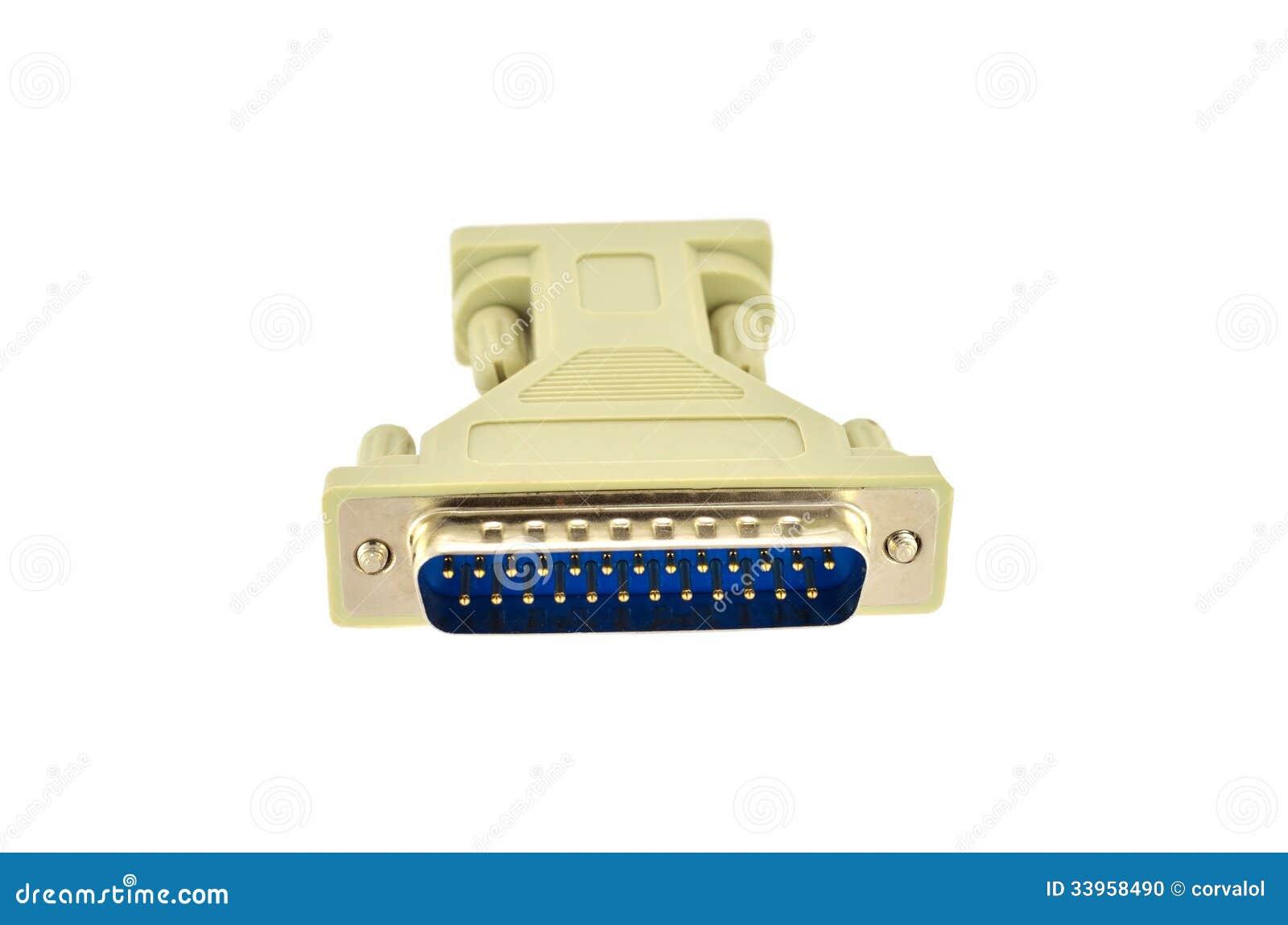 Computer Monitor Plug : D sub plug and socket adapter stock photo image