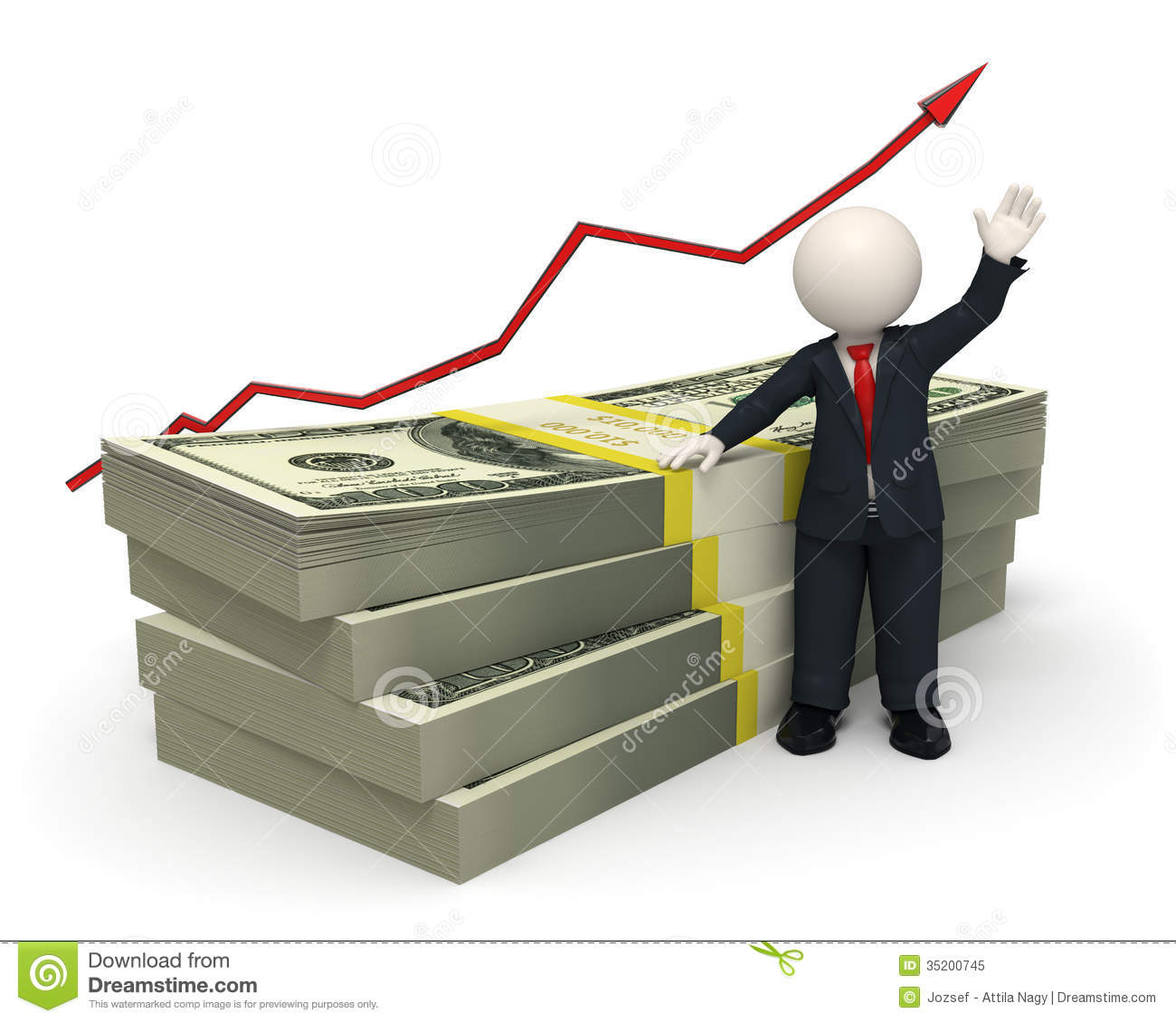3d Succesful Business Man Pack Of Money Graph Royalty