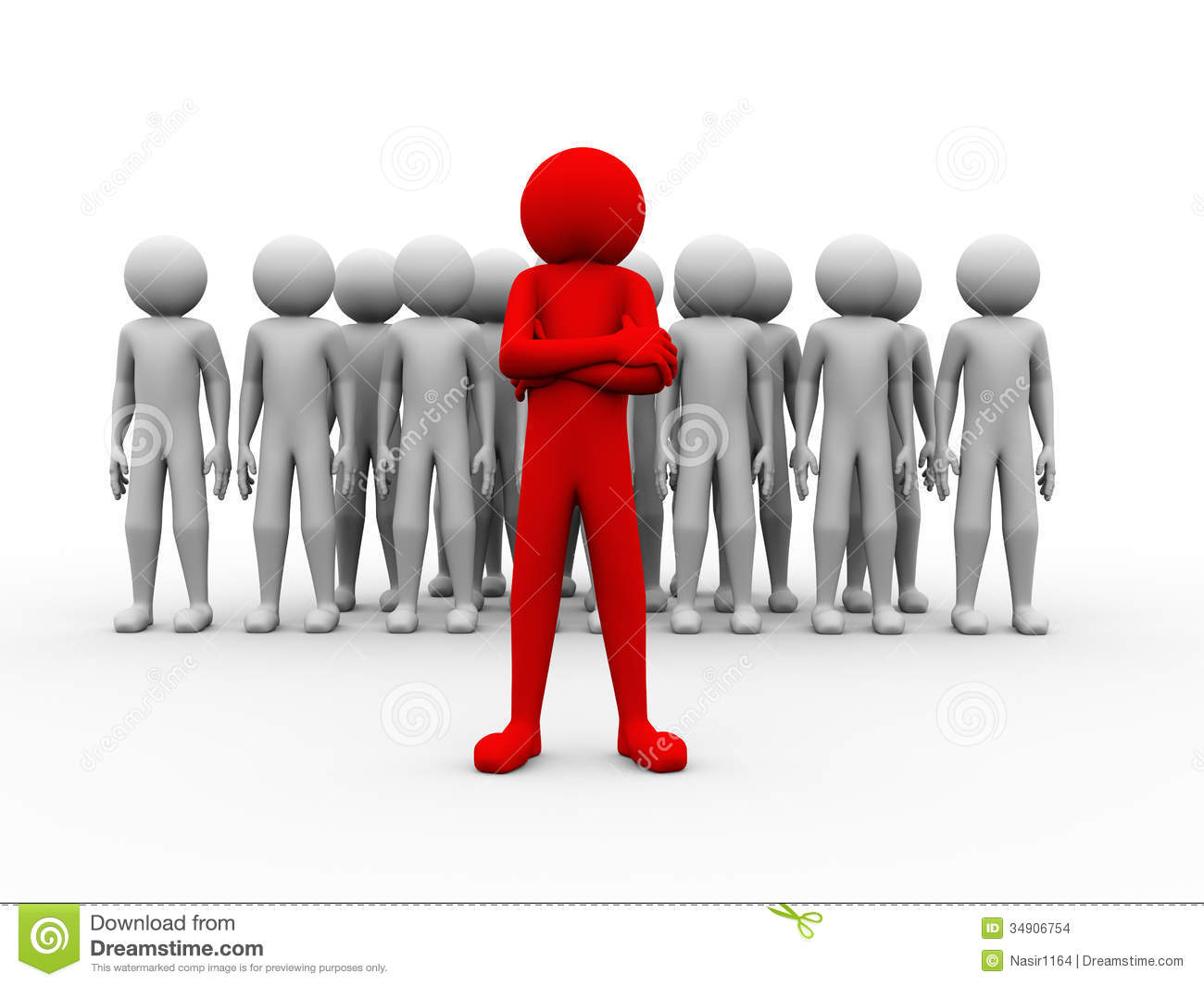 3d Successful Red Man Team Leader Illustration Stock Images - Image ... Unique Person In A Crowd