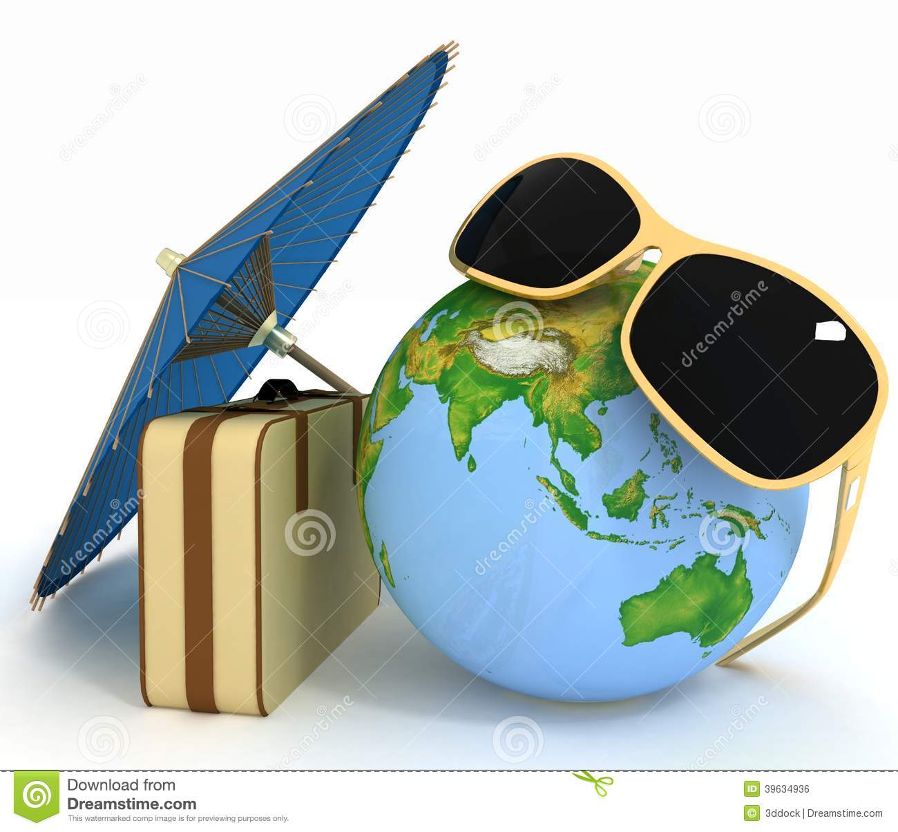 3d Suitcase, Globe And Umbrella Stock Illustration ... Earth Map Globe