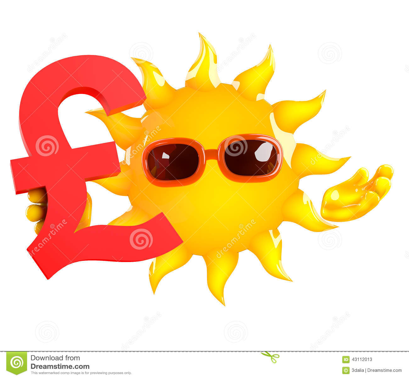 3d Sun Holds A Uk Pounds Sterling Currency Symbol Stock Illustration