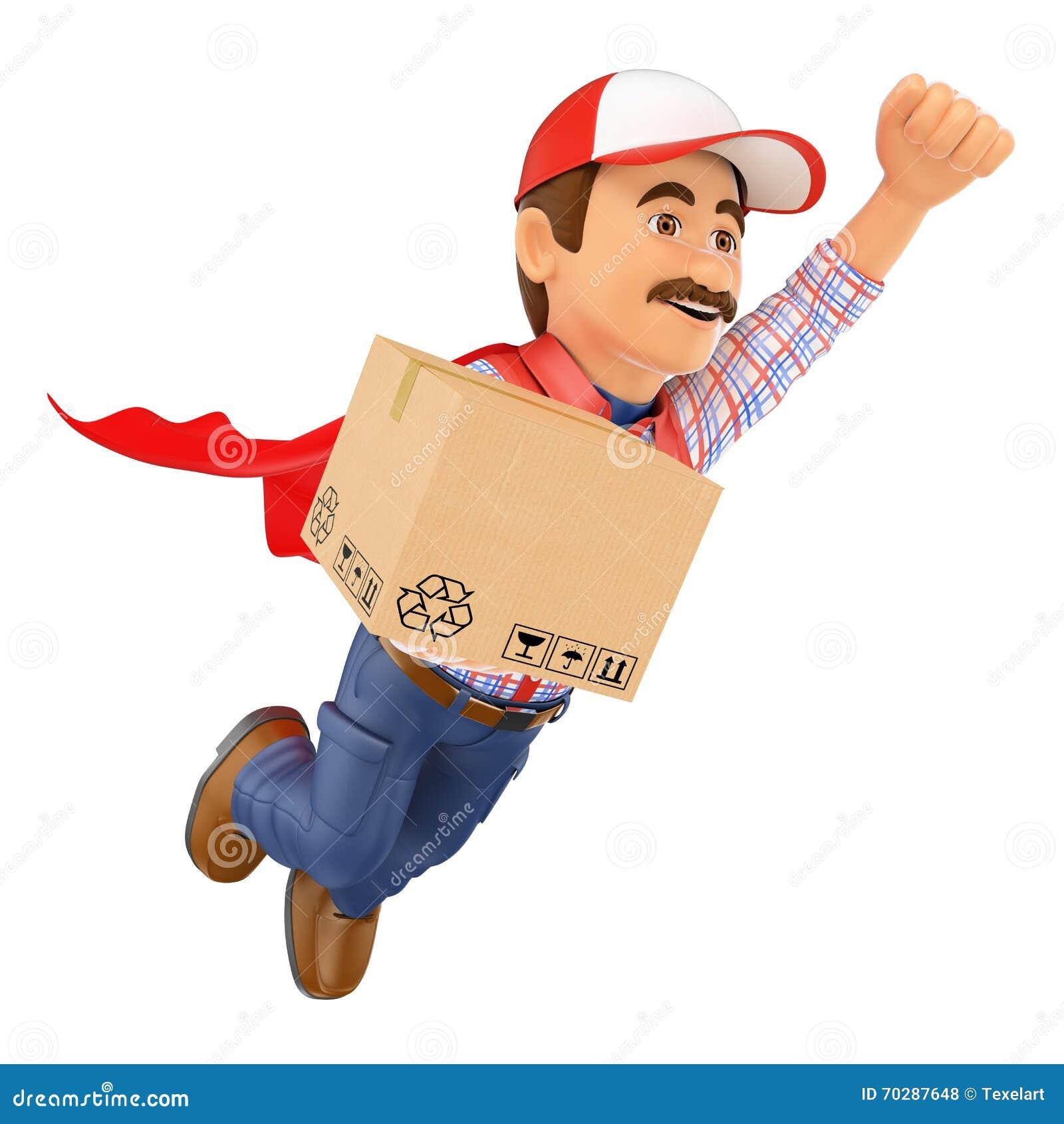man working transport box royalty