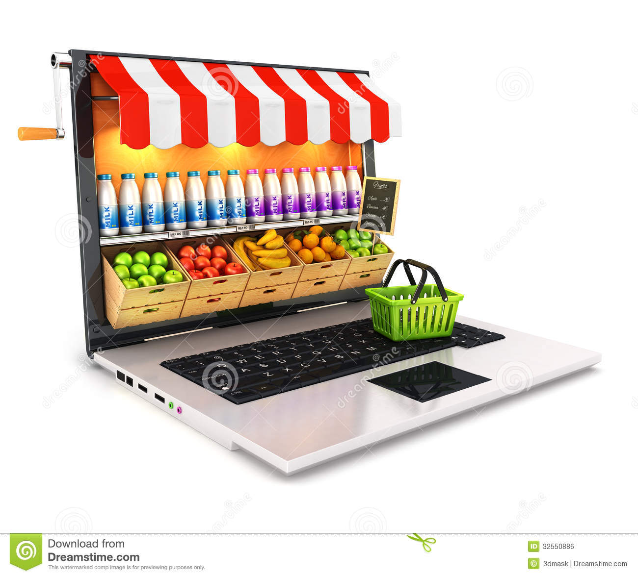 3d supermarketa laptop