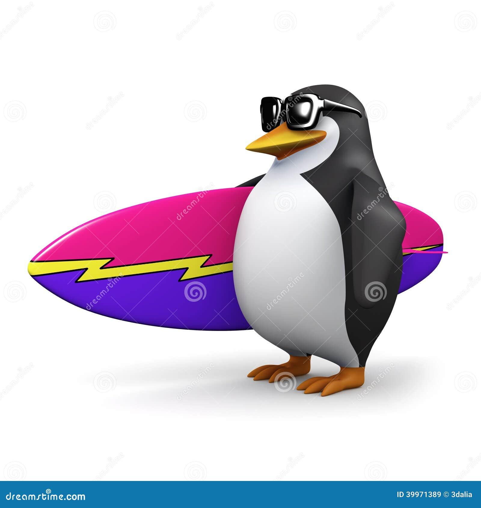 3d Surfer Penguin Stock Illustration Illustration Of Surfer 39971389