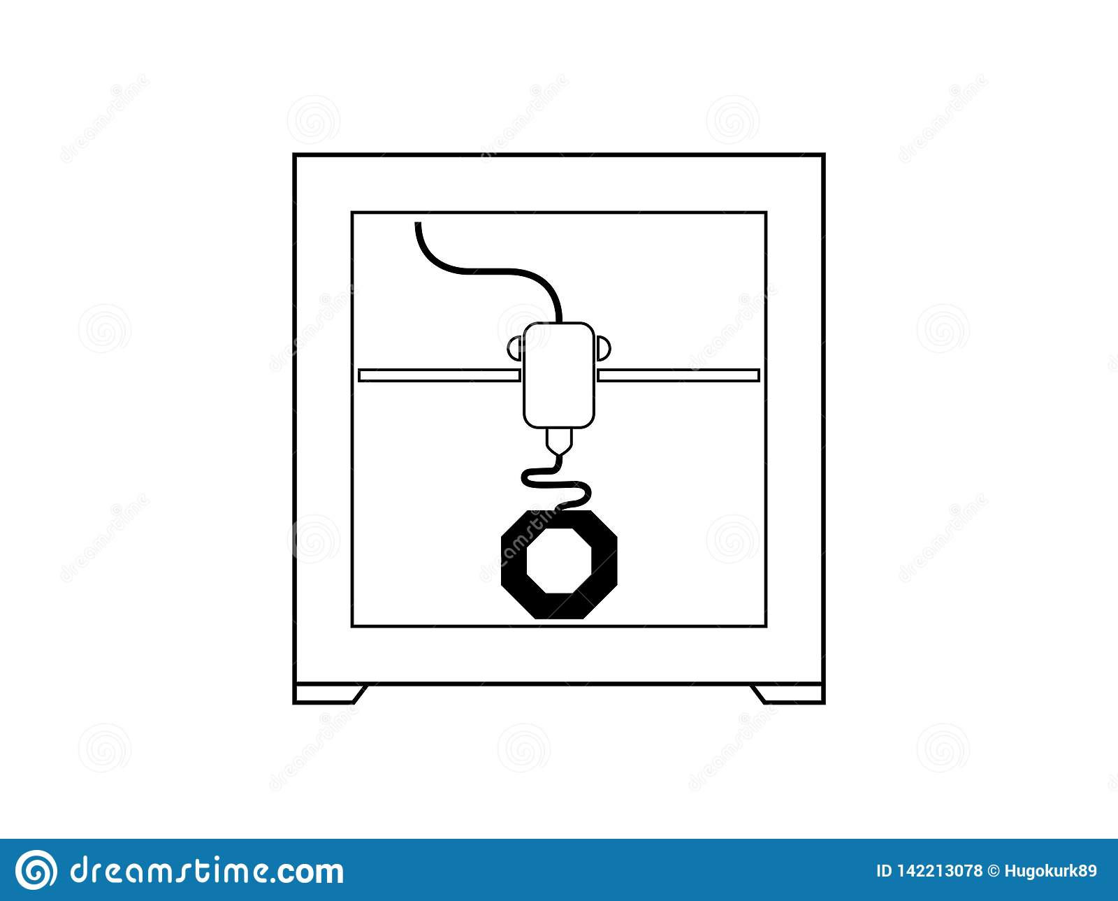3D symbool van het printerpictogram in zwart-wit
