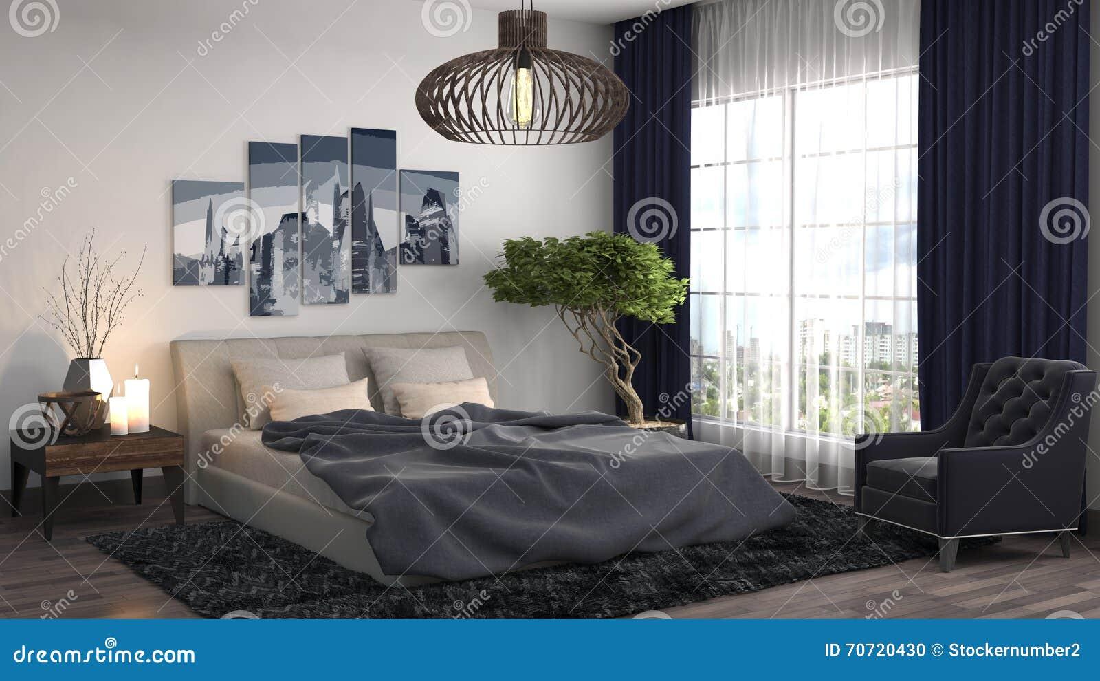 3 d sypialni otoczenia wewnętrznej pozbawione piorun ilustracja 3 d