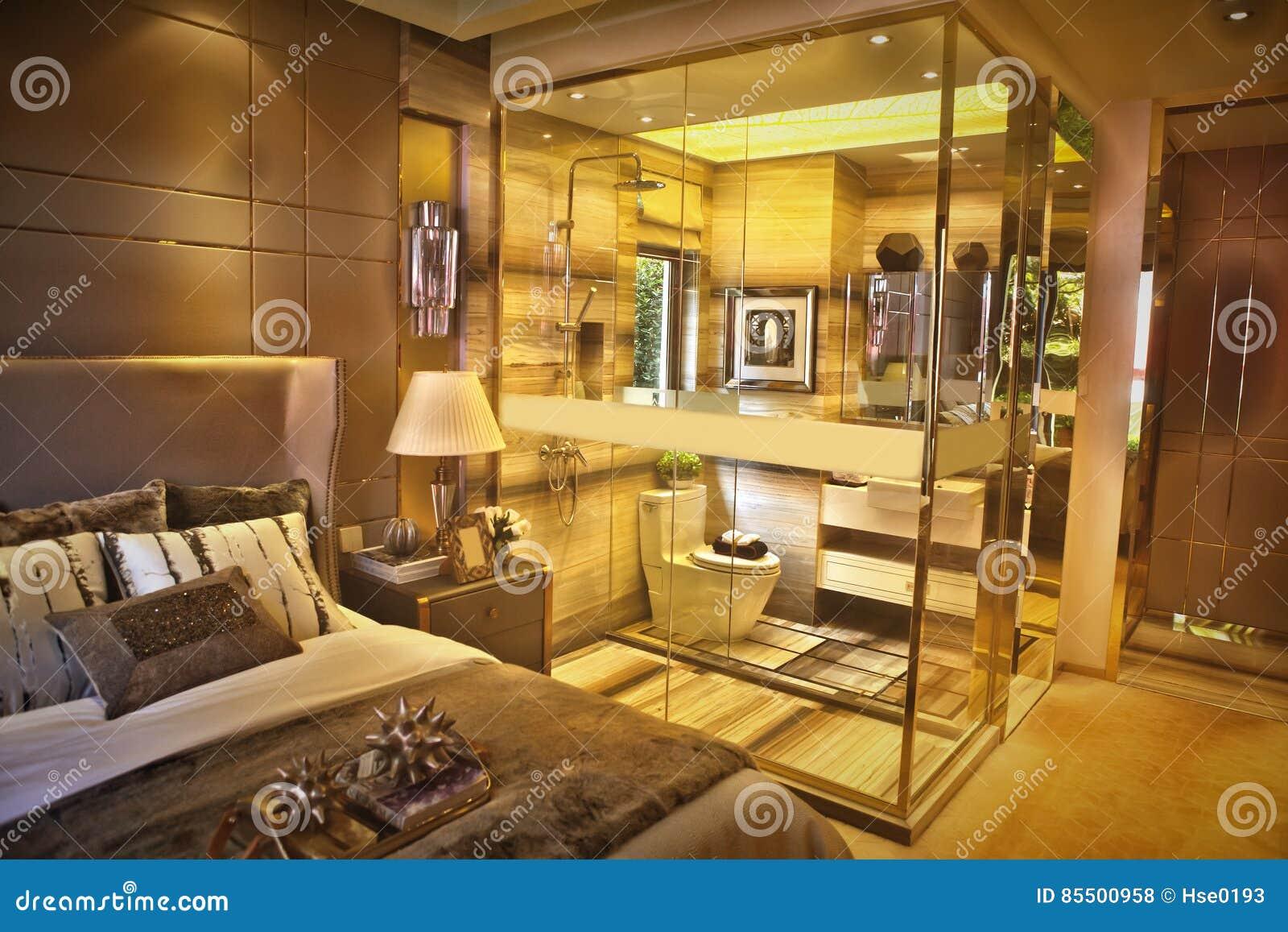 3 D Sypialni Otoczenia Wewnętrznej Pozbawione Piorun Zdjęcie